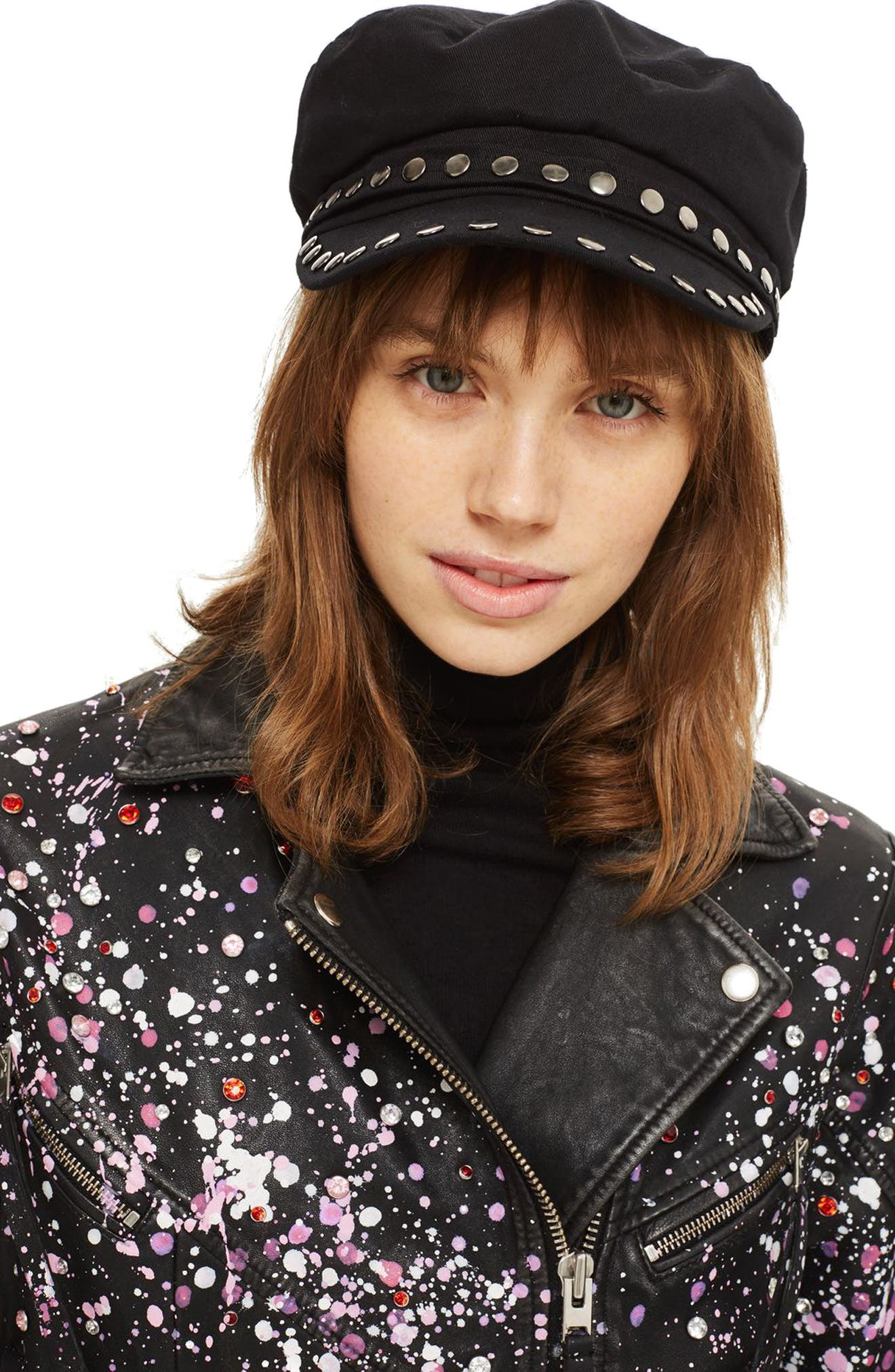 Studded Baker Boy Cap,                             Alternate thumbnail 2, color,                             Black Multi
