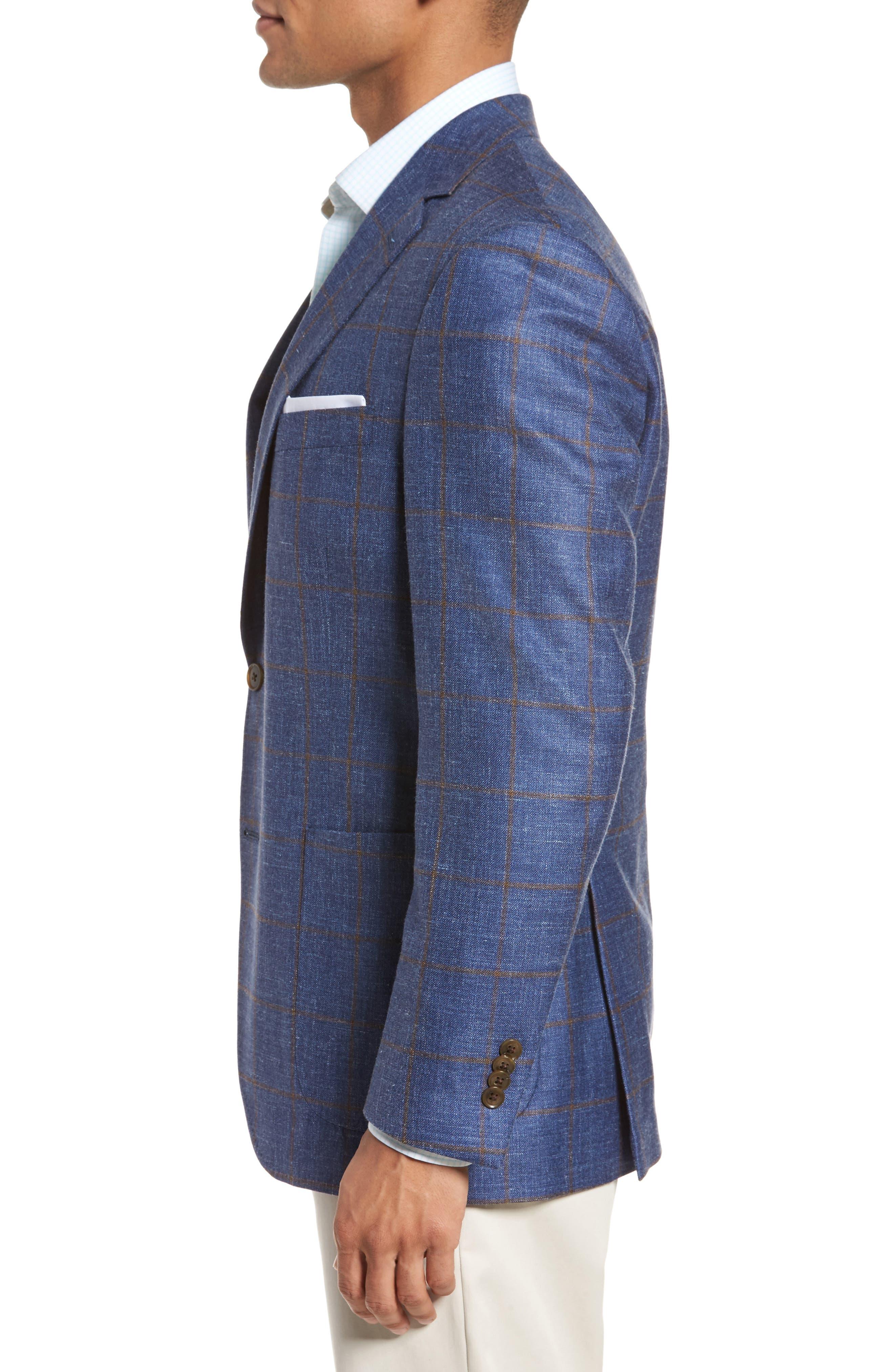 Classic Fit Windowpane Wool Blend Sport Coat,                             Alternate thumbnail 3, color,                             Navy