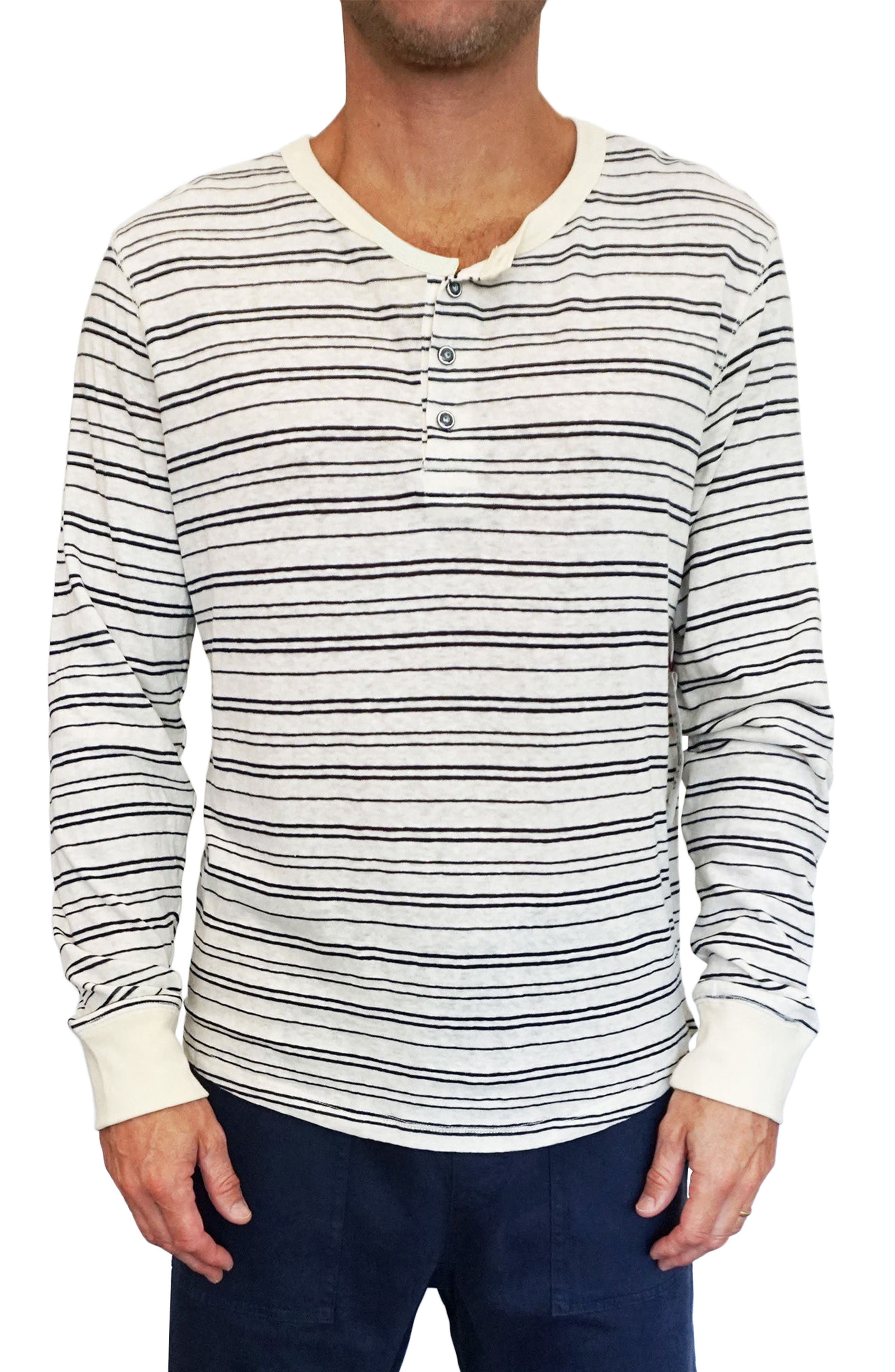 Nautical Stripe Henley,                         Main,                         color, Natural