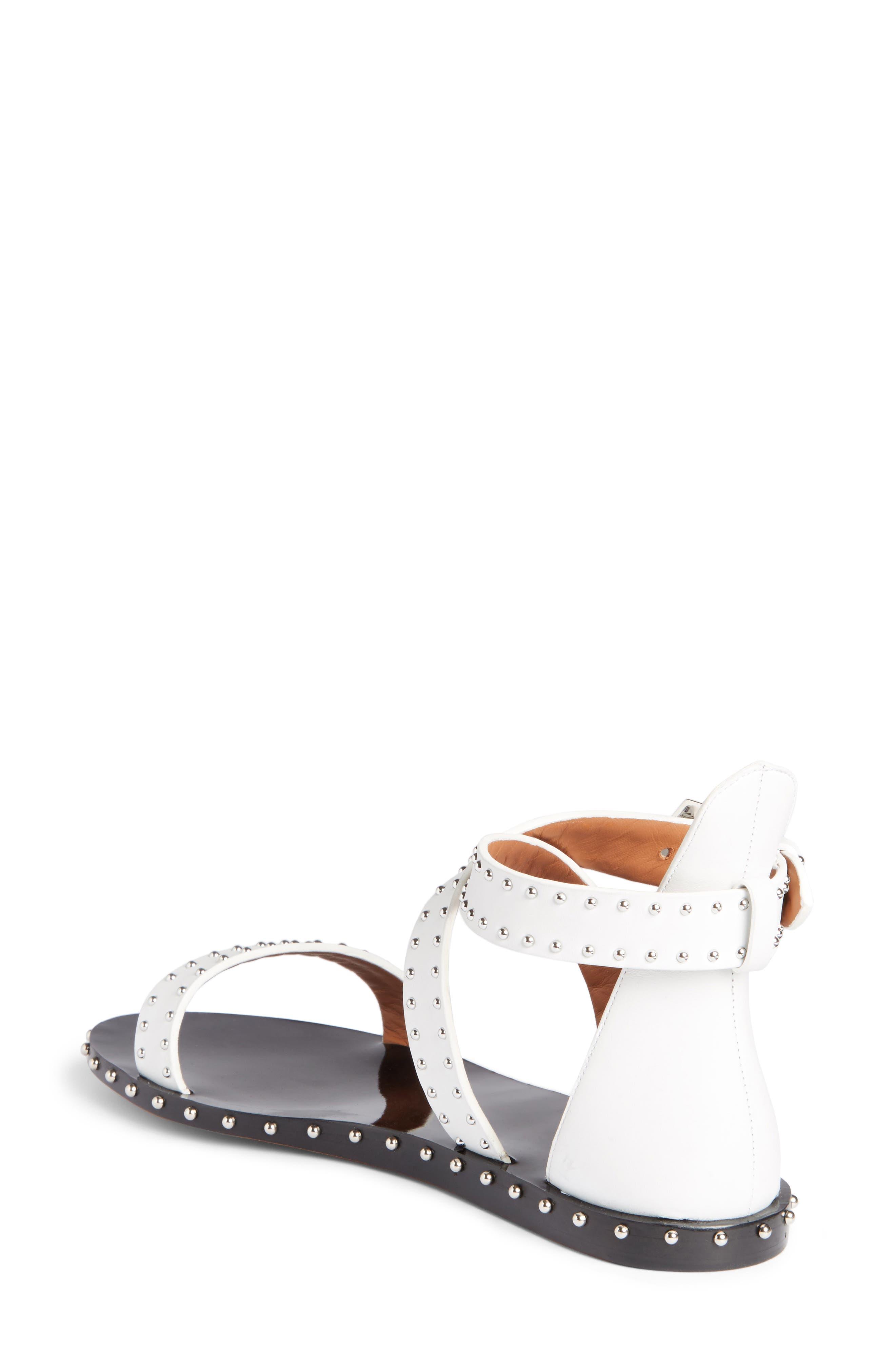 Elegant Strappy Studded Sandal,                             Alternate thumbnail 2, color,                             White