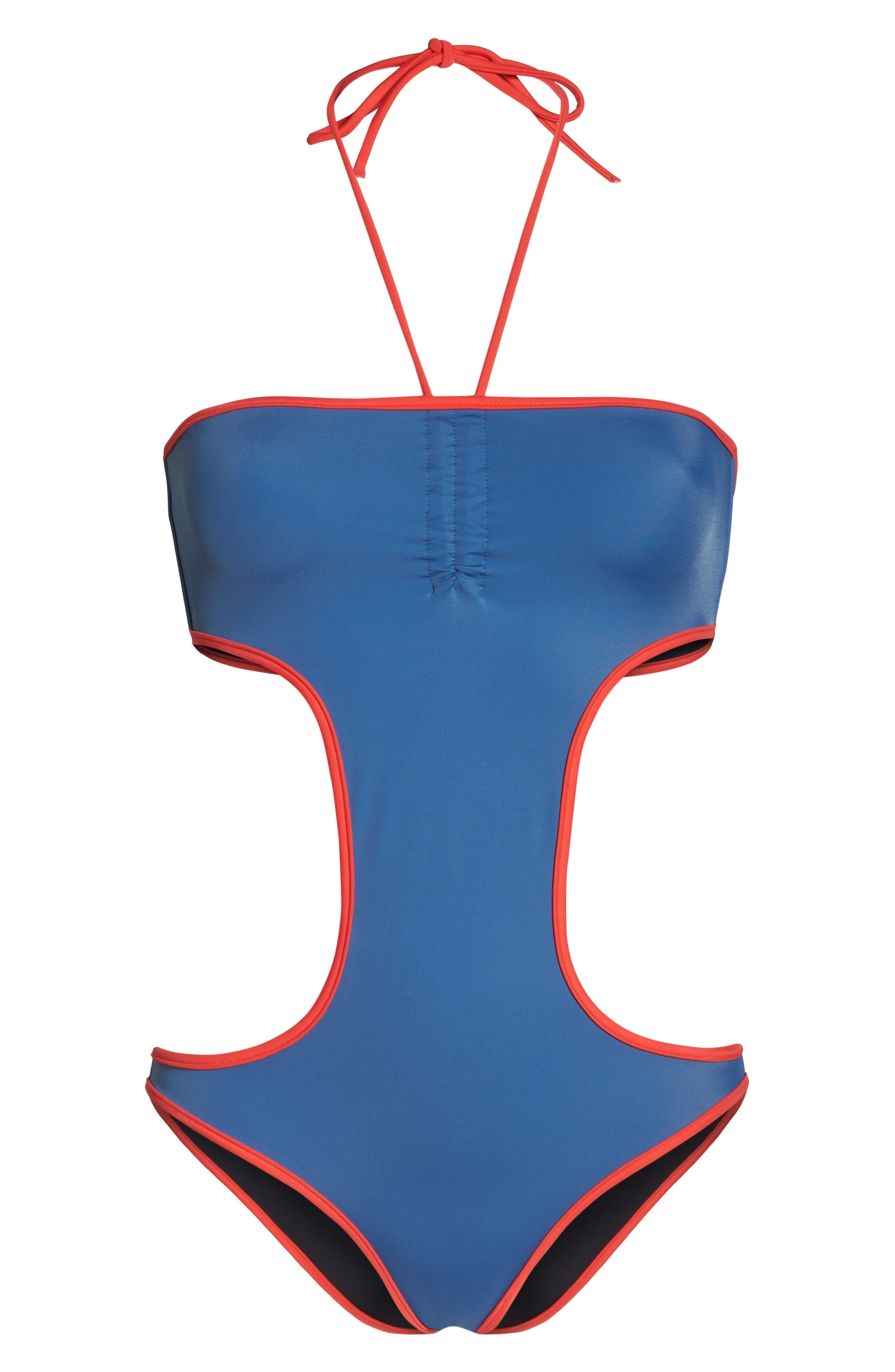 The Carolyn Cutout One-Piece Swimsuit,                             Alternate thumbnail 6, color,                             Blue
