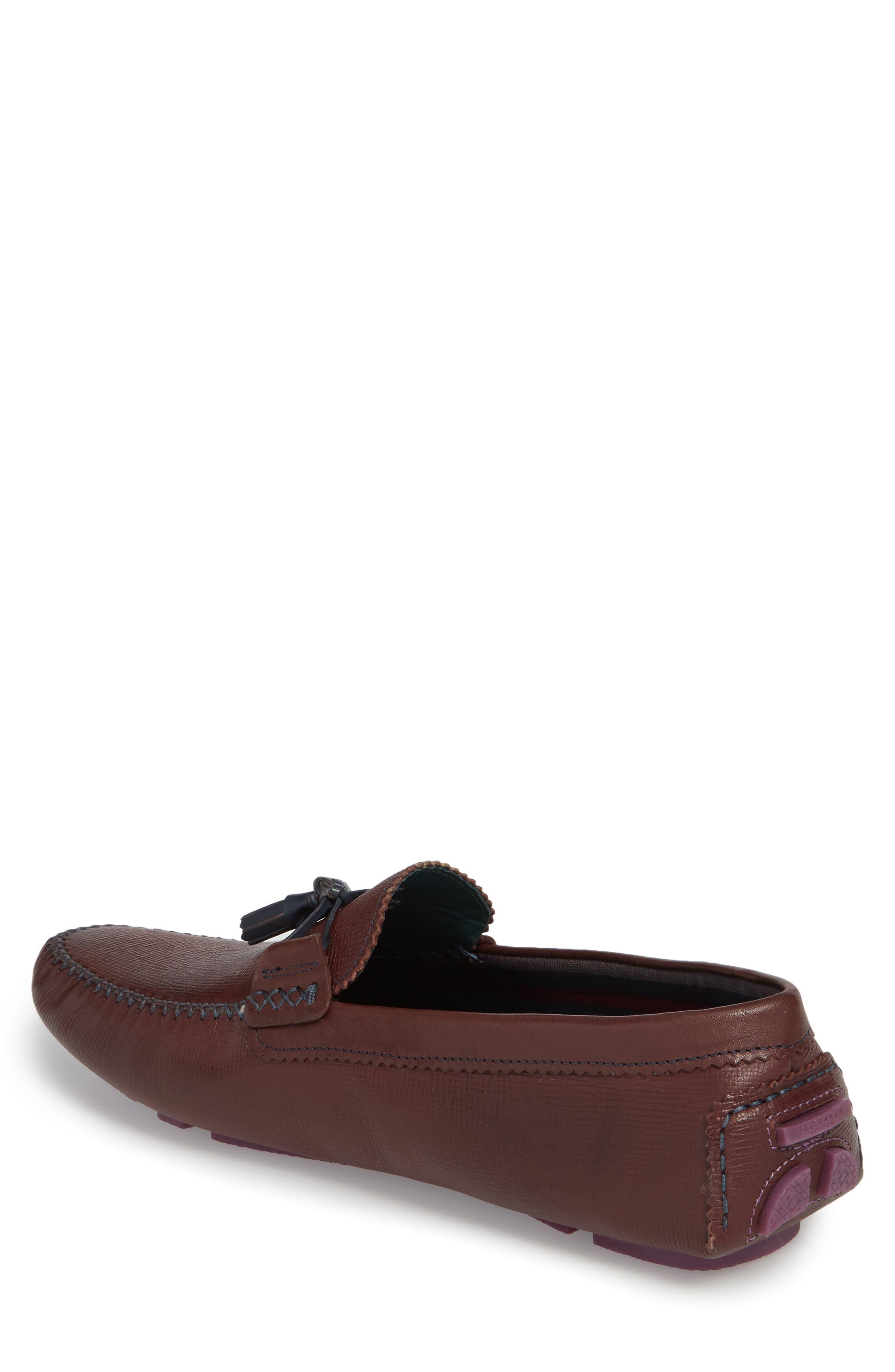 Urbonn Tasseled Driving Loafer,                             Alternate thumbnail 2, color,                             Dark Red Leather
