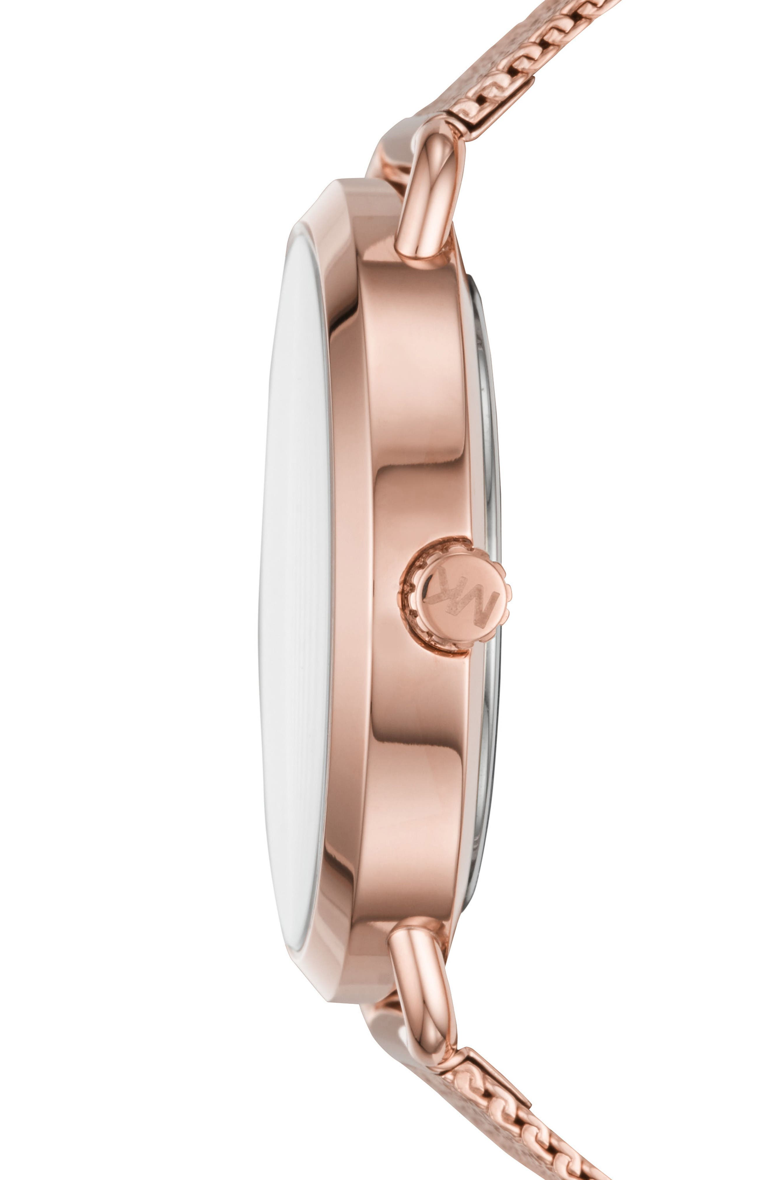 Portia Mesh Strap Watch, 37mm,                             Alternate thumbnail 2, color,                             Rose Gold