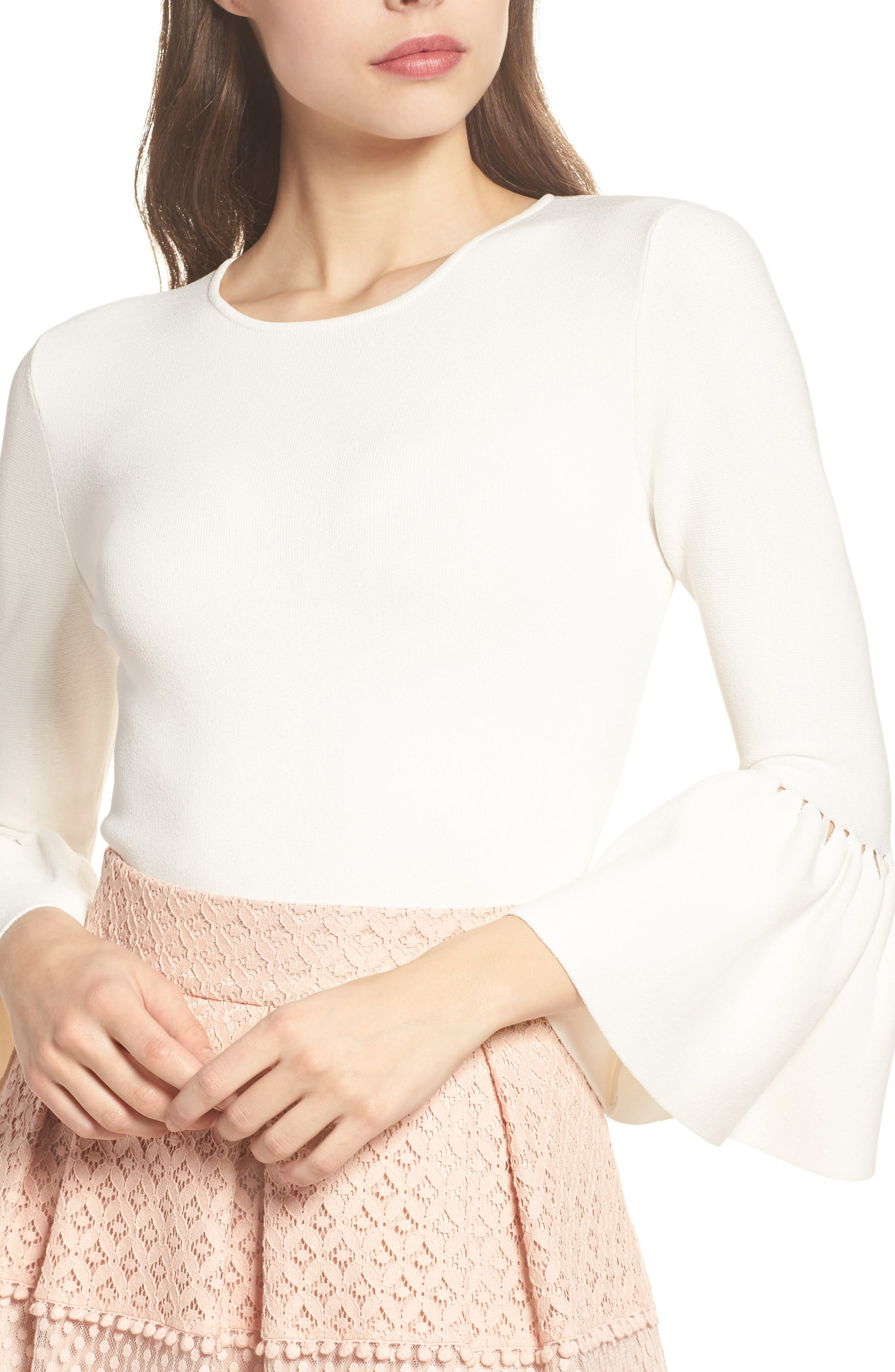 Social Bell Sleeve Top,                             Alternate thumbnail 4, color,                             Ivy