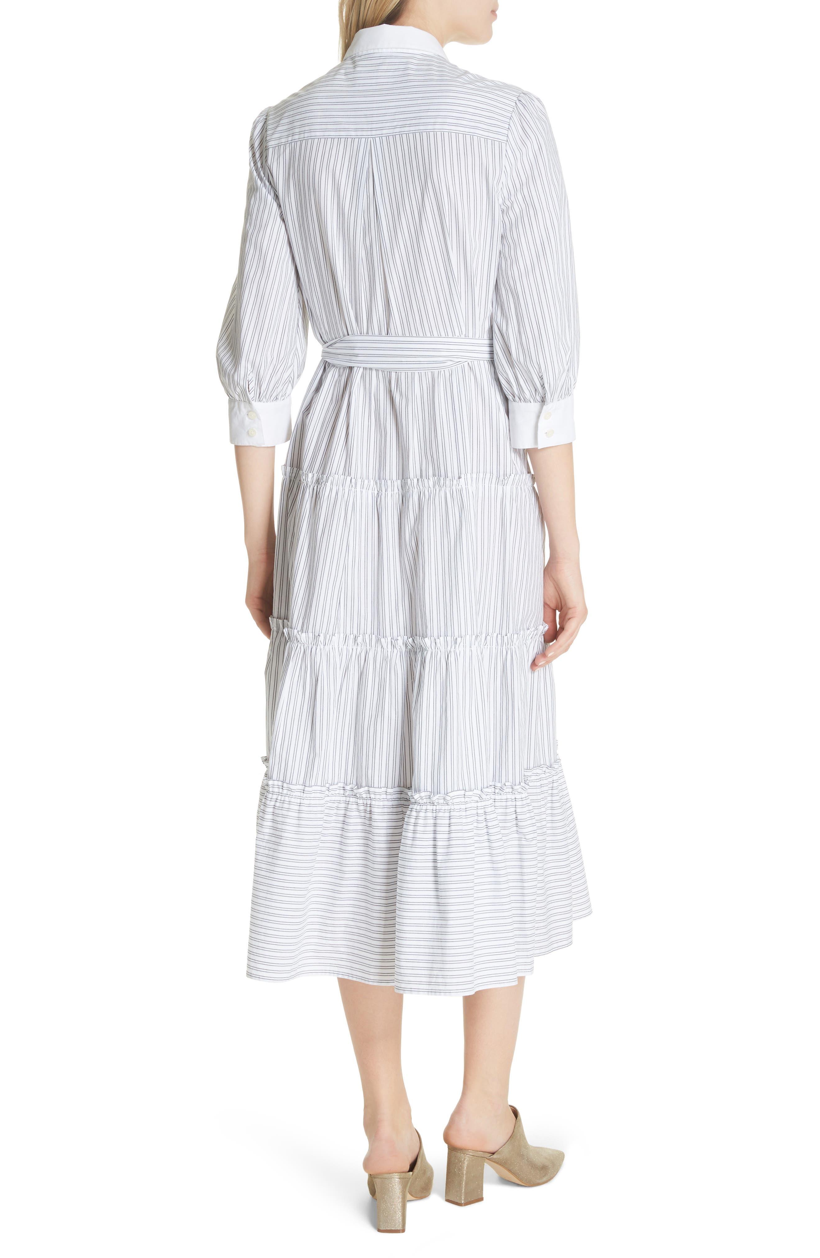 embroidered ruffle trim shirtdress,                             Alternate thumbnail 2, color,                             Fresh White/ Black