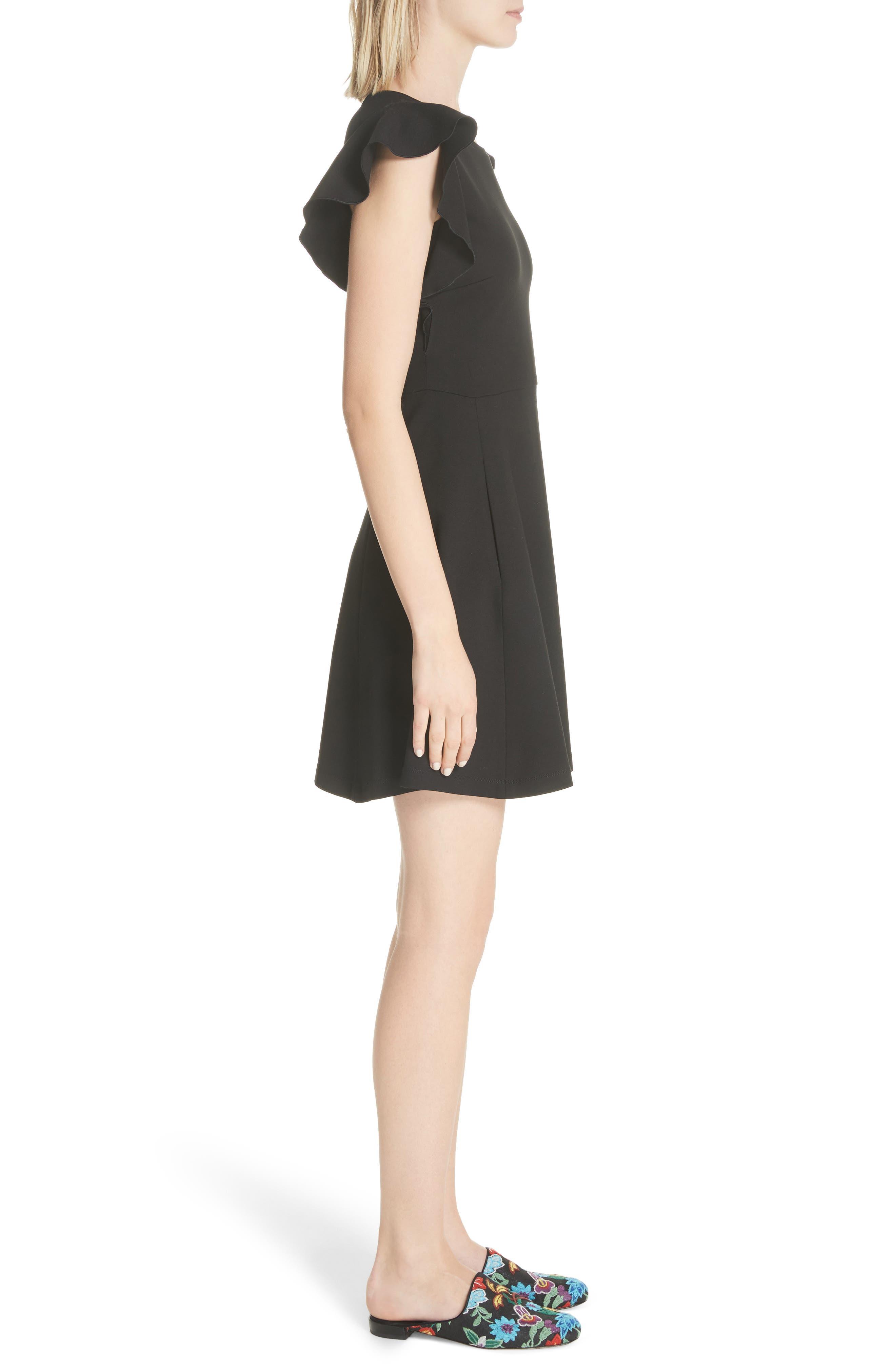 fluttter sleeve ponte knit dress,                             Alternate thumbnail 3, color,                             Black