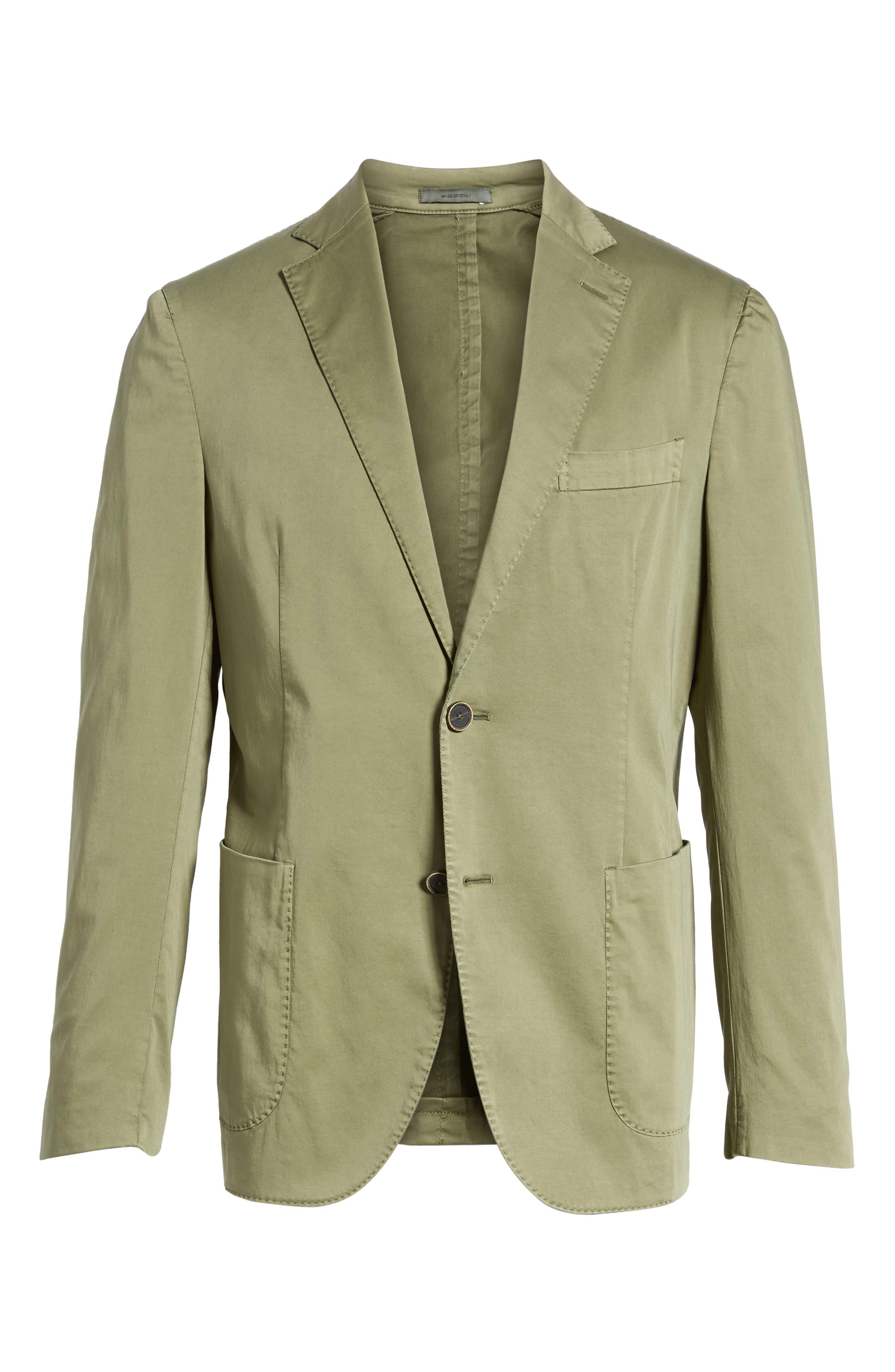 Trim Fit Stretch Cotton Blazer,                             Alternate thumbnail 6, color,                             Medium Green