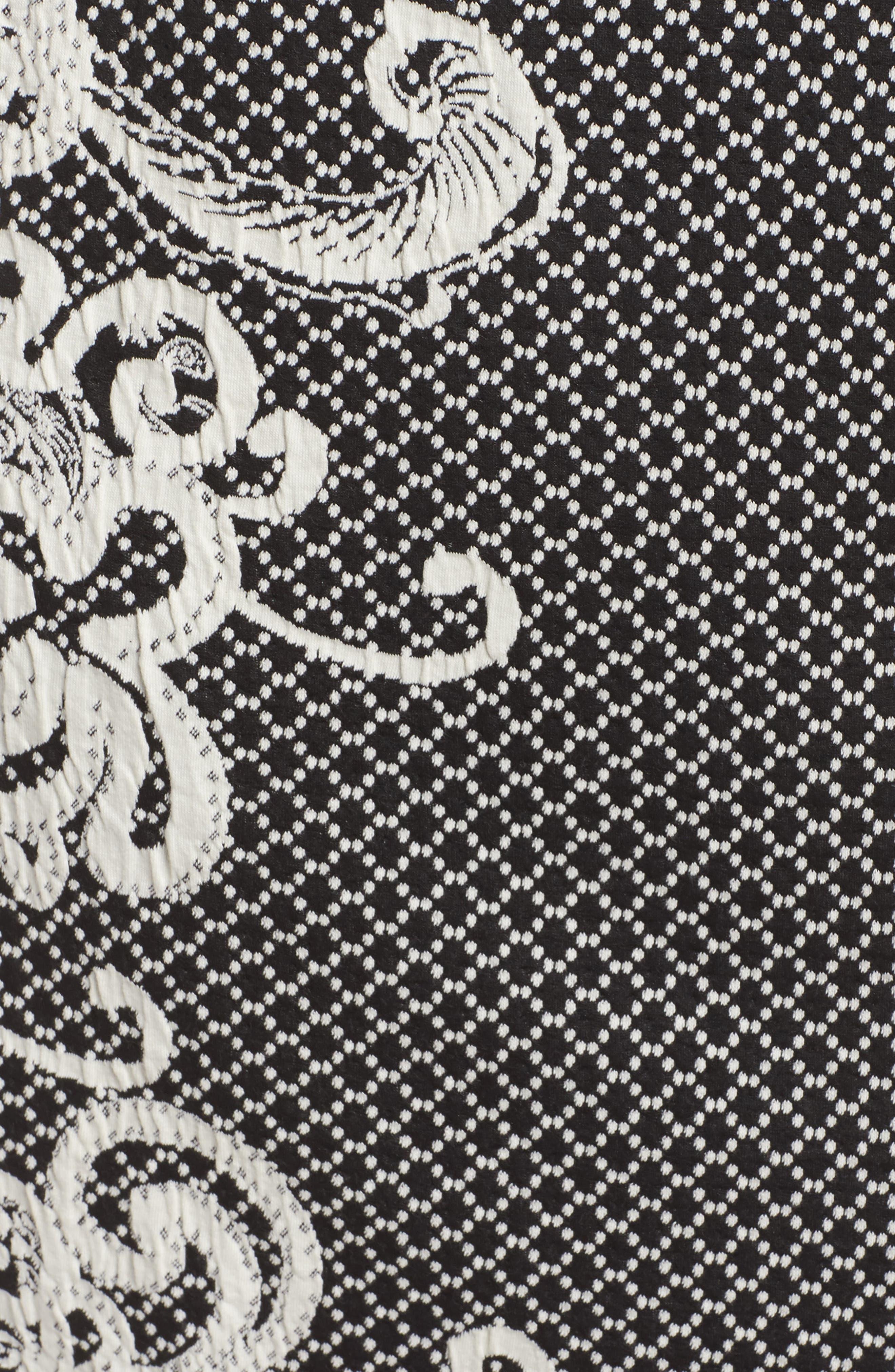 Scroll Border Knit Sheath Dress,                             Alternate thumbnail 5, color,                             Black/ Ivory