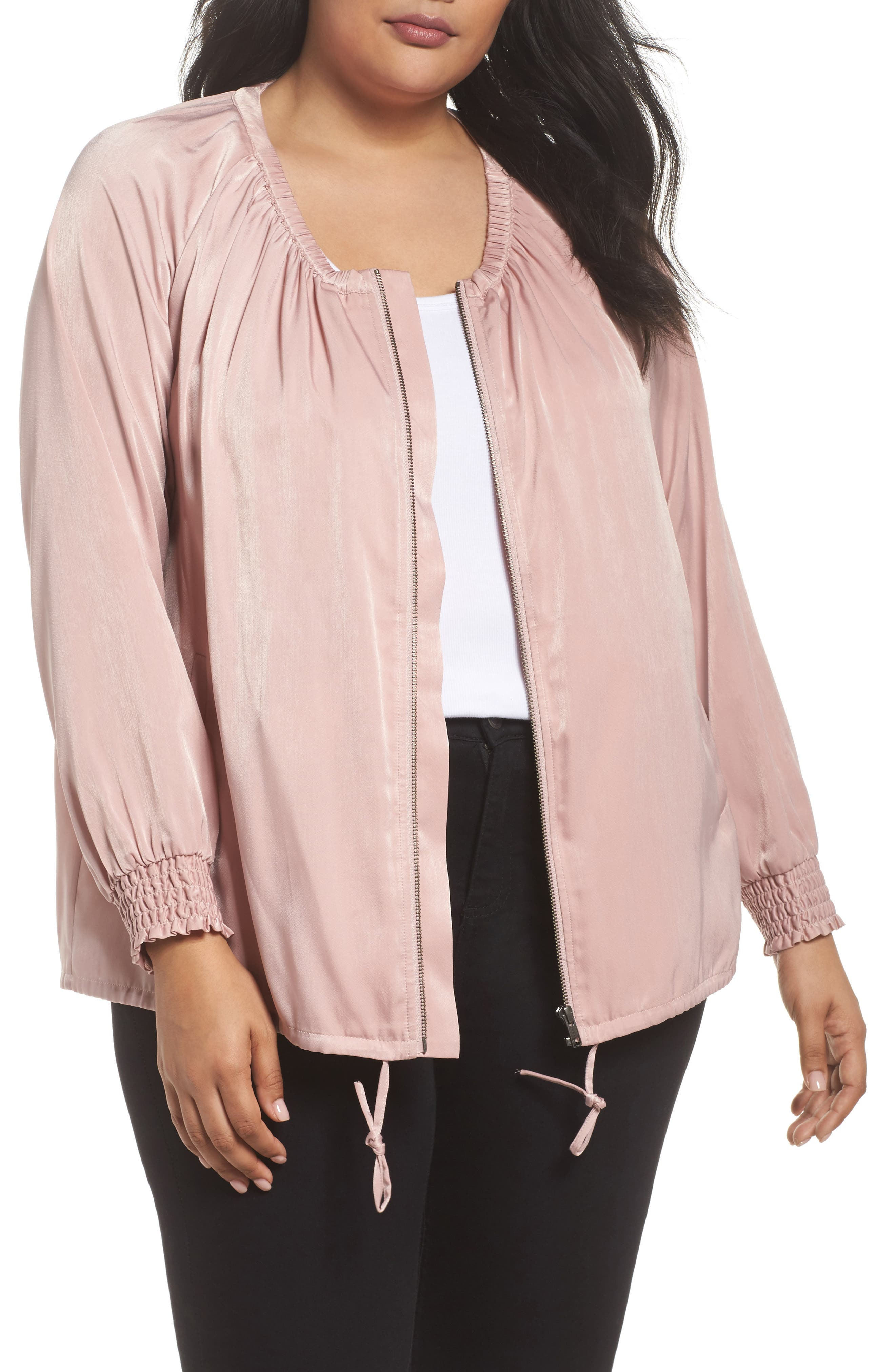 Swing Back Satin Bomber Jacket,                             Main thumbnail 1, color,                             Pink Puff