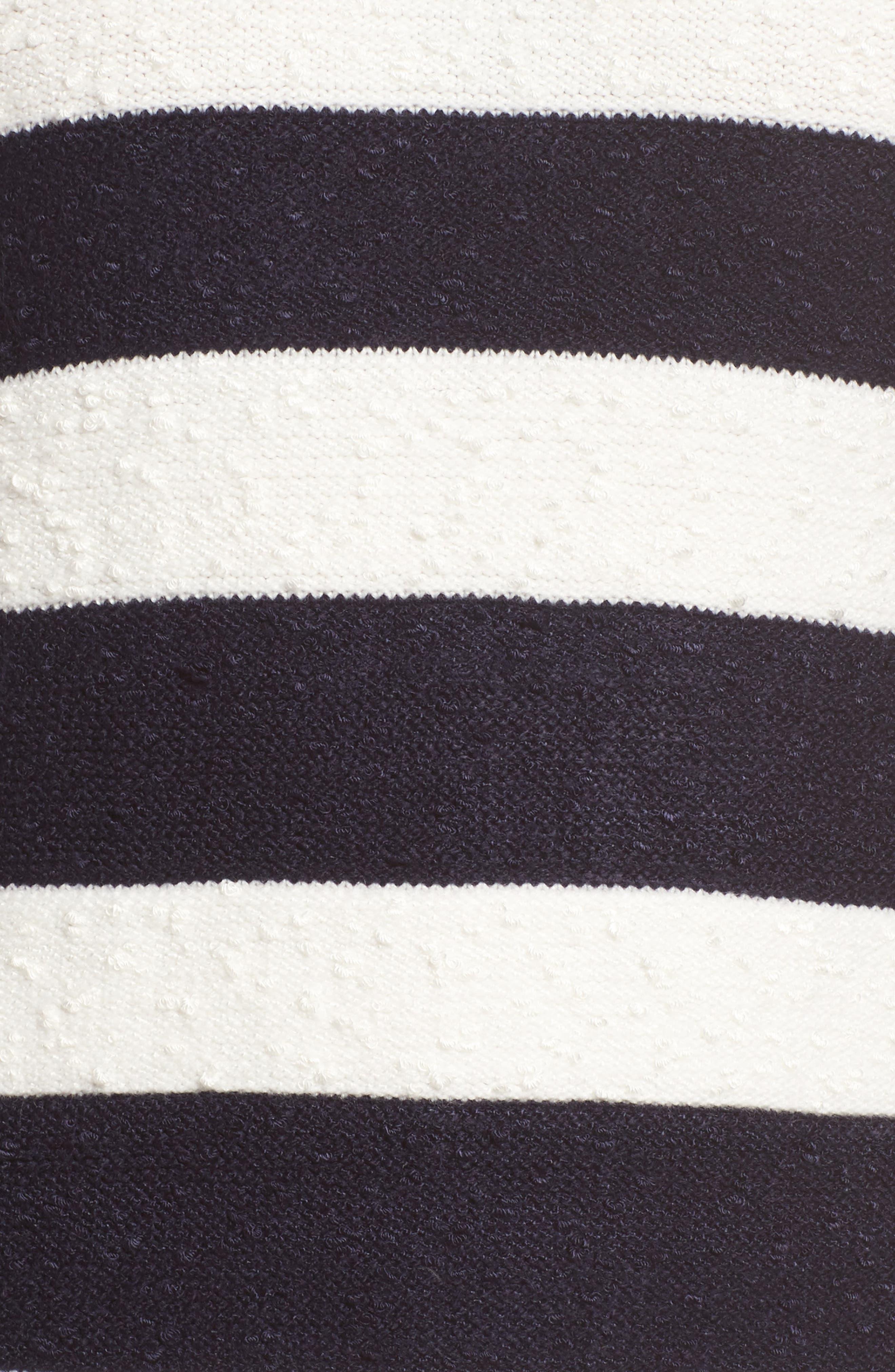 Stripe Sweater Dress,                             Alternate thumbnail 5, color,                             Navy/ Ivory