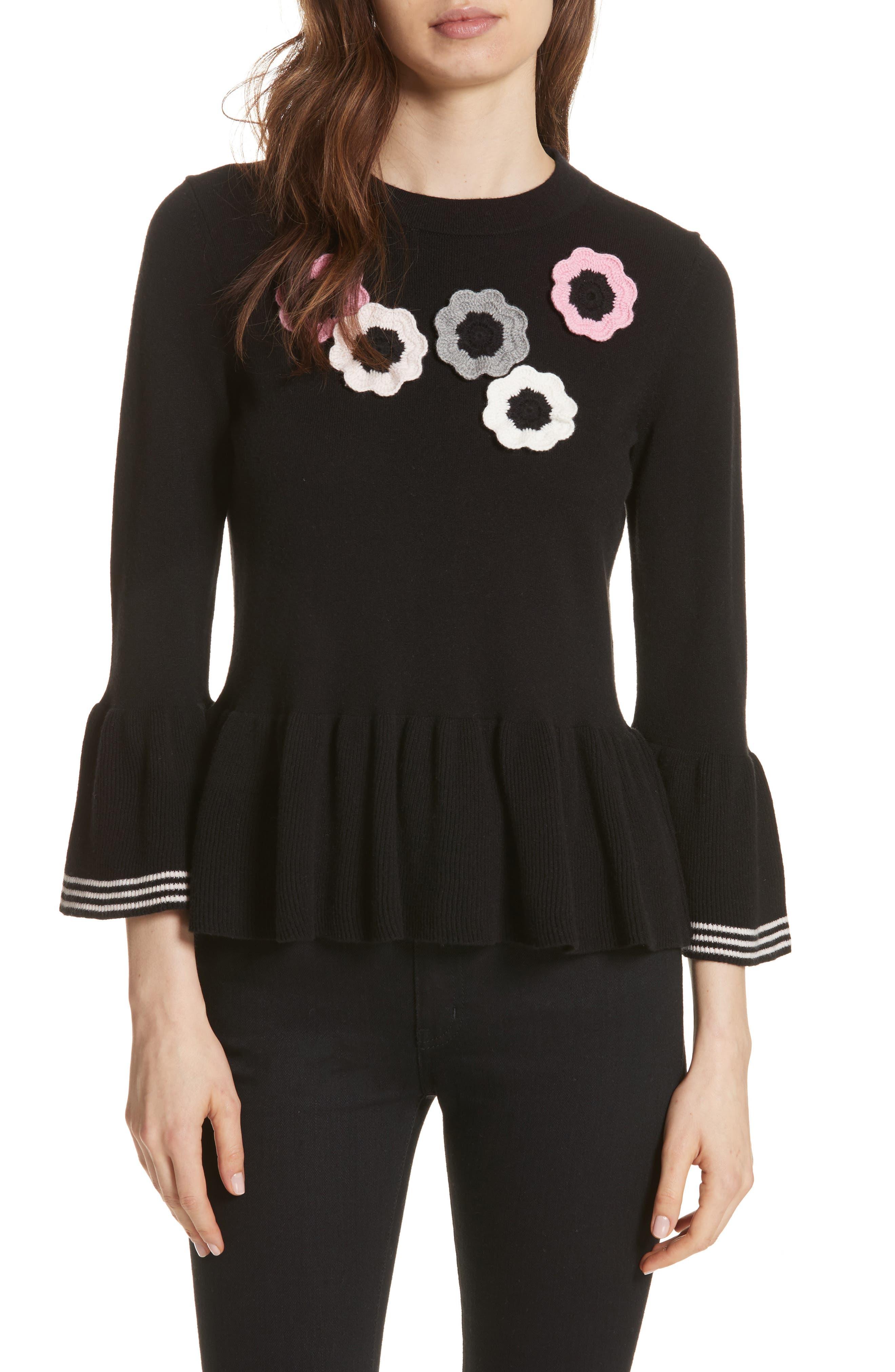 crochet flower peplum sweater,                         Main,                         color, Black
