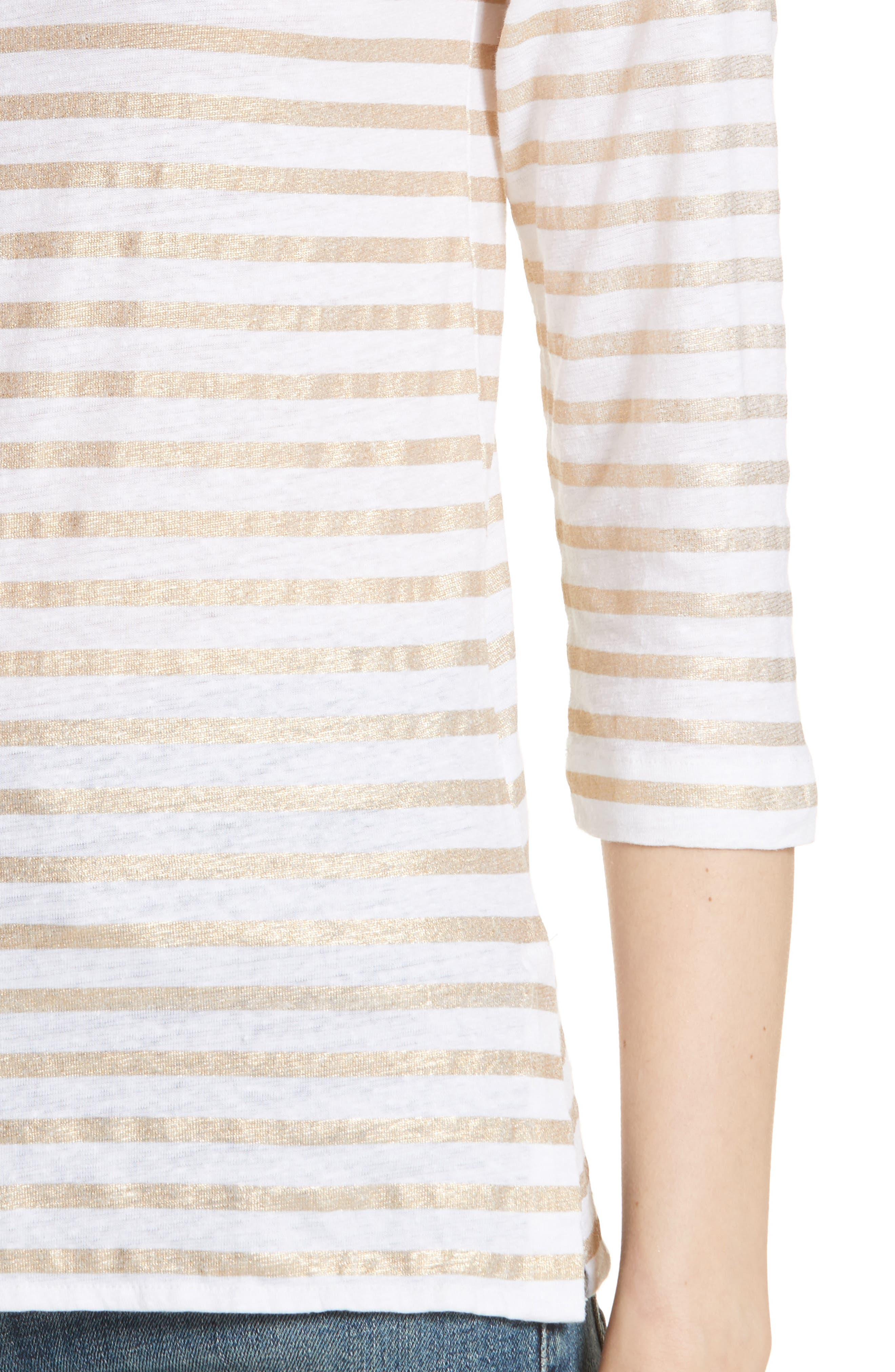 Linen Stretch Stripe Top,                             Alternate thumbnail 4, color,                             Blanc/ Gold Metal Stripe