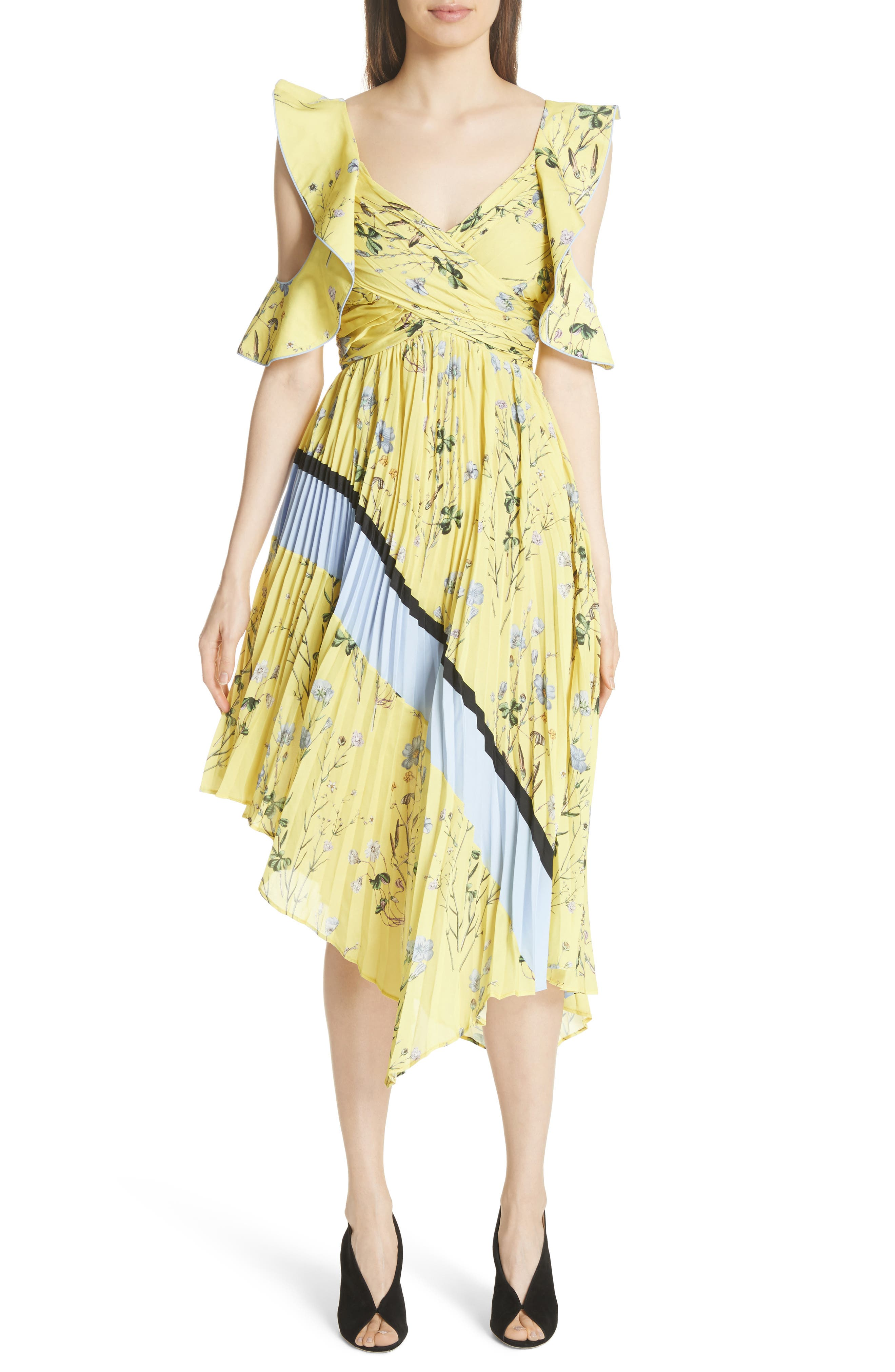 Self-Portrait Floral Pleated Asymmetrical Dress