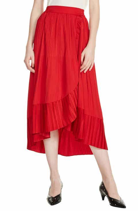 maje Jonette Faux Wrap Midi Skirt
