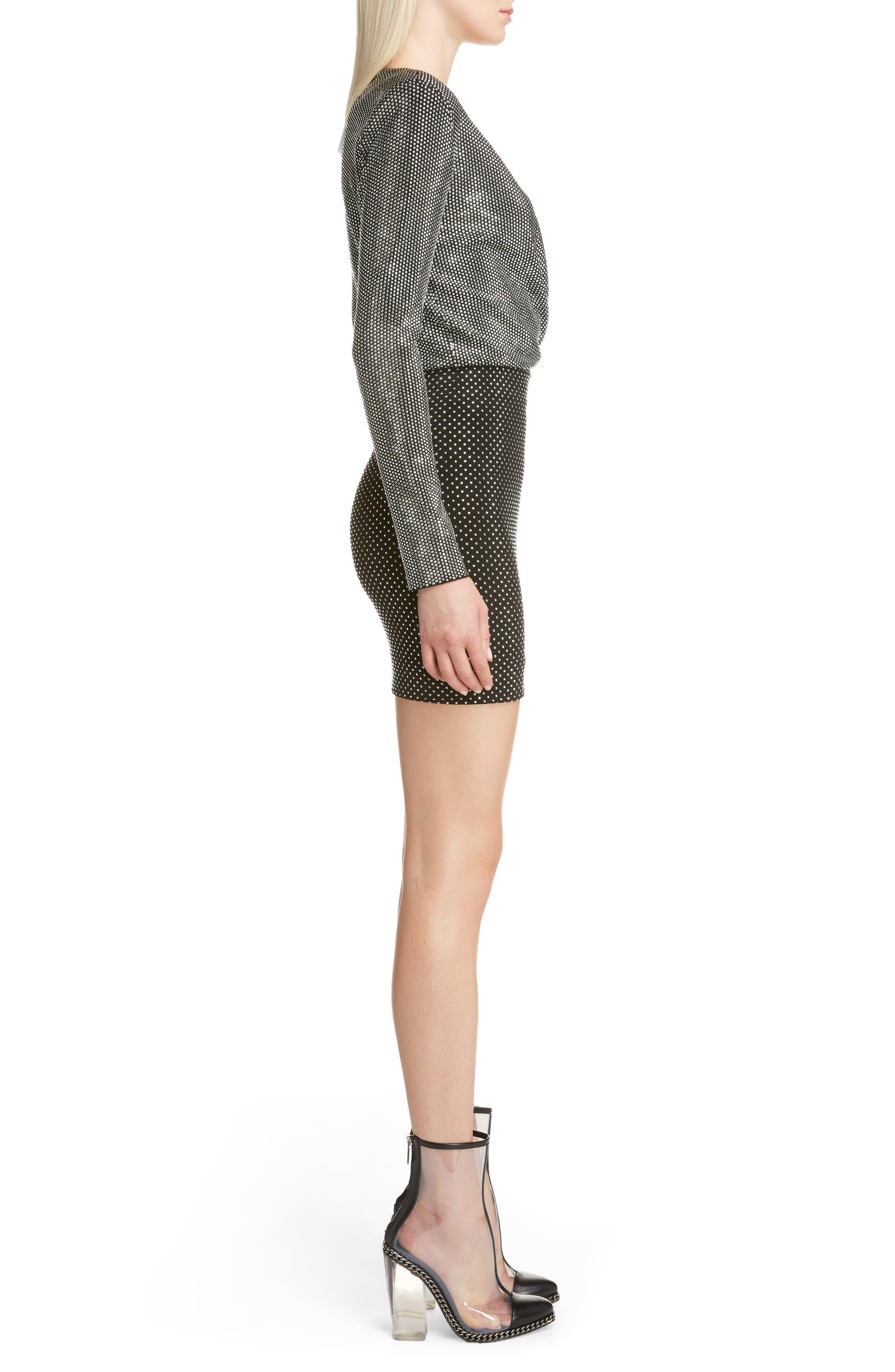 Studded Surplice Minidress,                             Alternate thumbnail 3, color,                             Black/ Silver