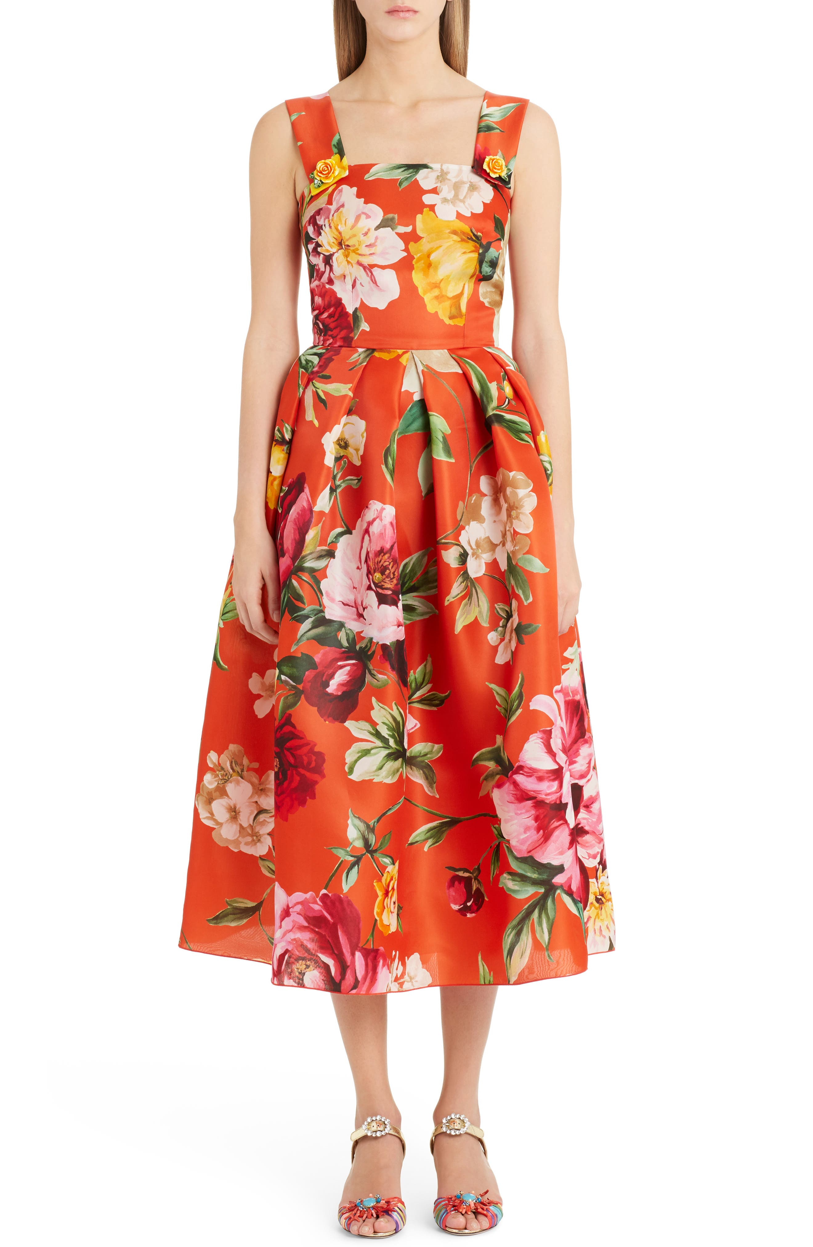 Floral Print Silk Organza Tea Length Dress,                             Main thumbnail 1, color,                             Orange