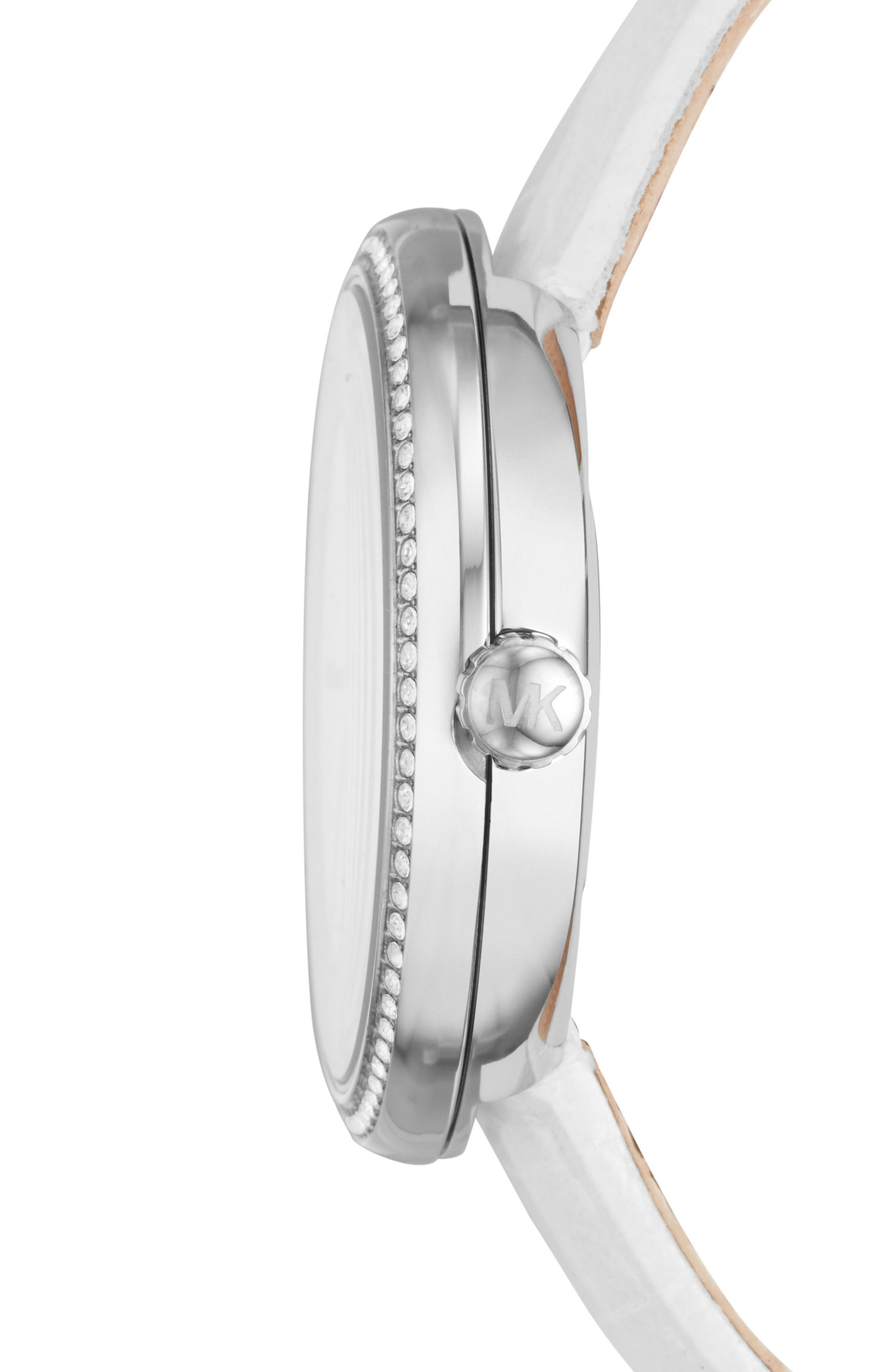 Courtney Crystal Leather Strap Watch, 36mm,                             Alternate thumbnail 2, color,                             White/ Silver