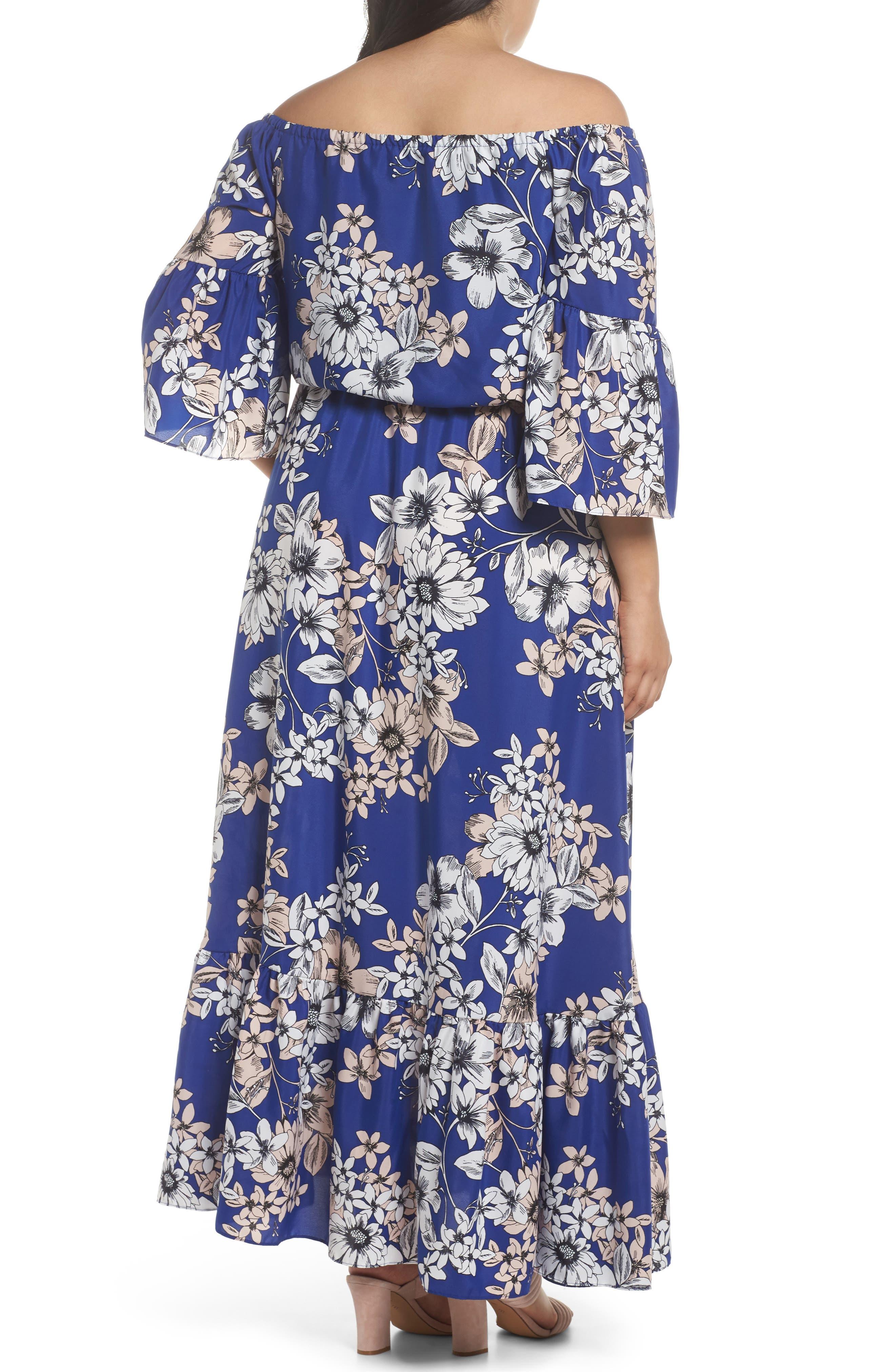 Off the Shoulder Floral Maxi Dress,                             Alternate thumbnail 2, color,                             Cobalt