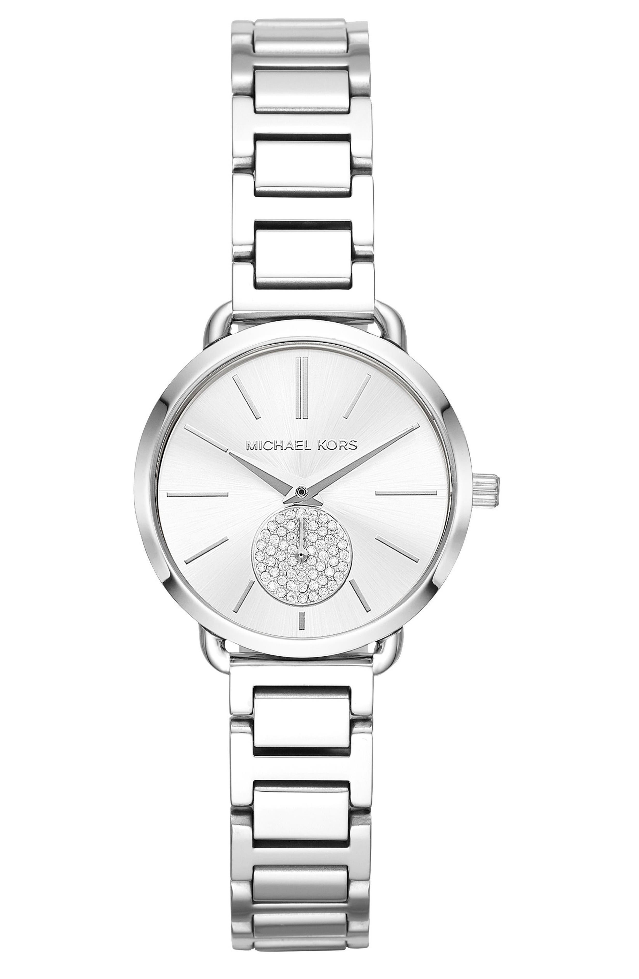 Portia Round Bracelet Watch, 31mm,                         Main,                         color, Silver/ White/ Silver