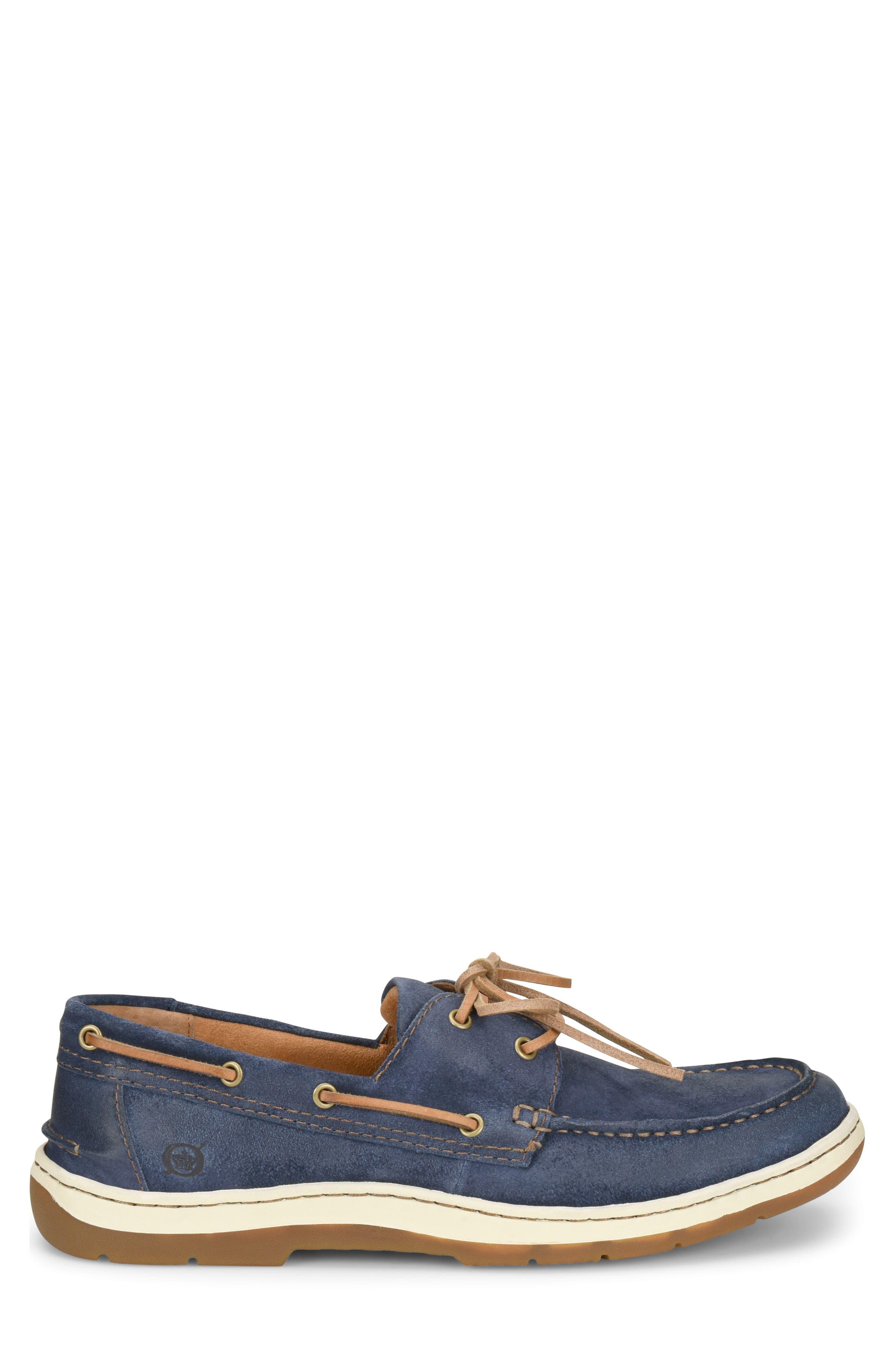 Ocean Boat Shoe,                             Alternate thumbnail 3, color,                             Dark Blue Leather