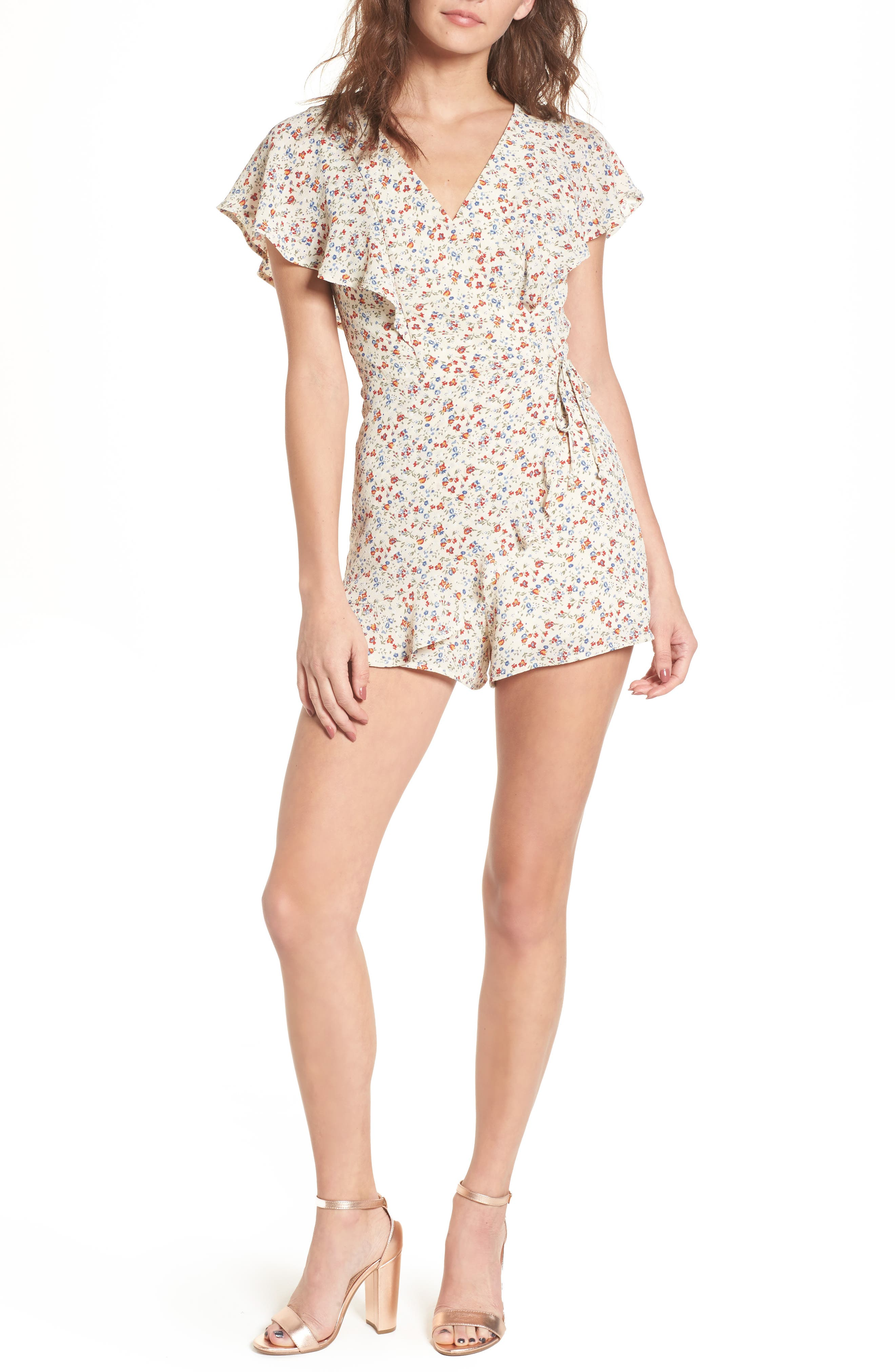 Ruffle Romper,                             Main thumbnail 1, color,                             Taupe Floral