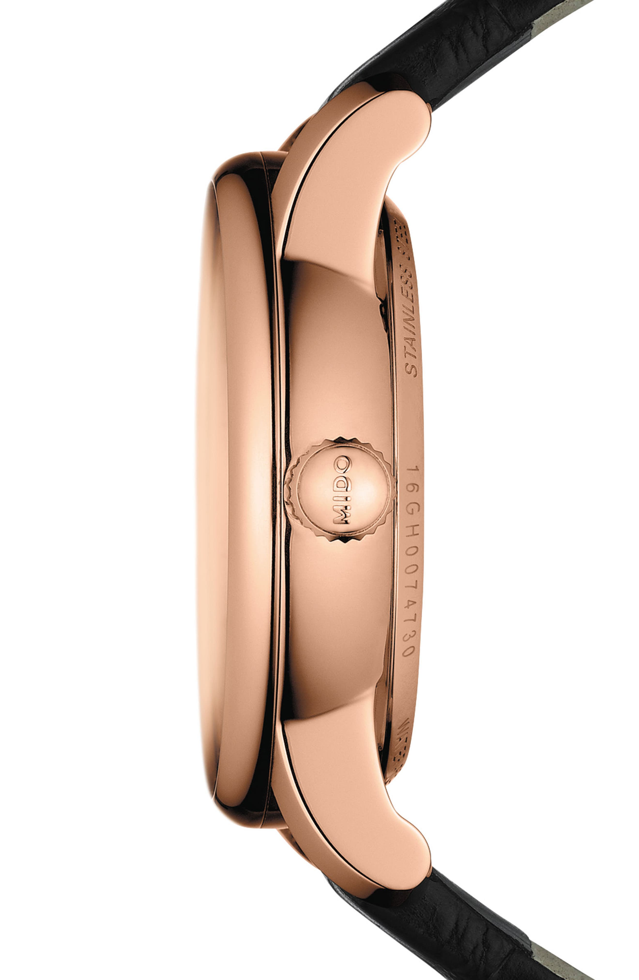 Alternate Image 3  - Mido Baroncelli Diamond Leather Strap Watch, 33mm