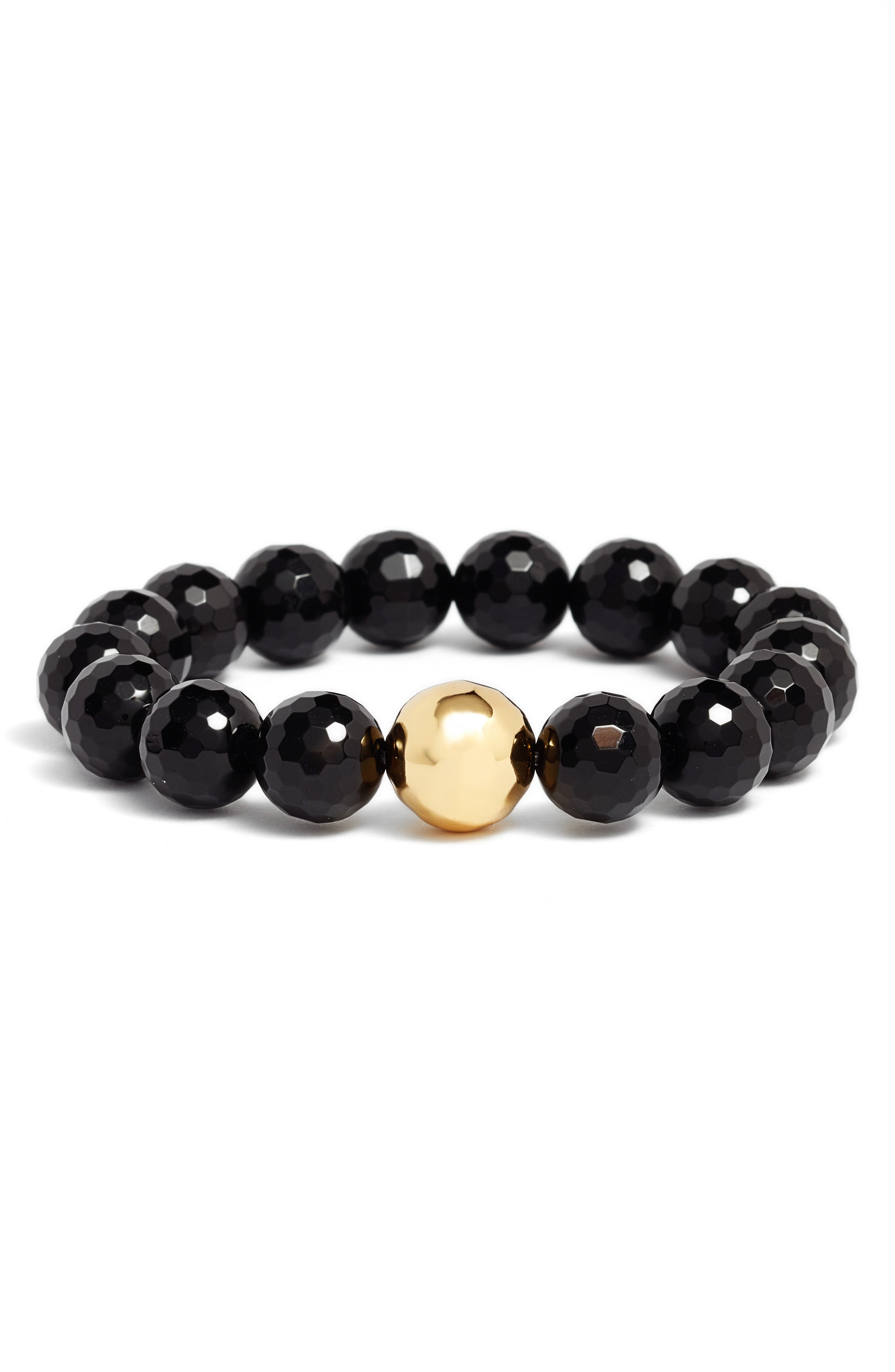 Power Gemstone Black Onyx Protection Bracelet,                             Main thumbnail 1, color,                             Black Onyx/ Gold