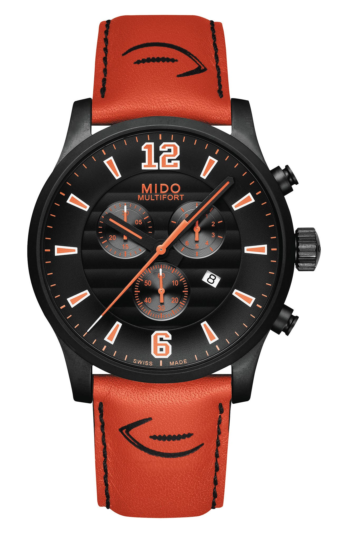 Multifort Chronograph Leather Strap Watch, 42mm,                         Main,                         color, Black/ Orange/ Silver