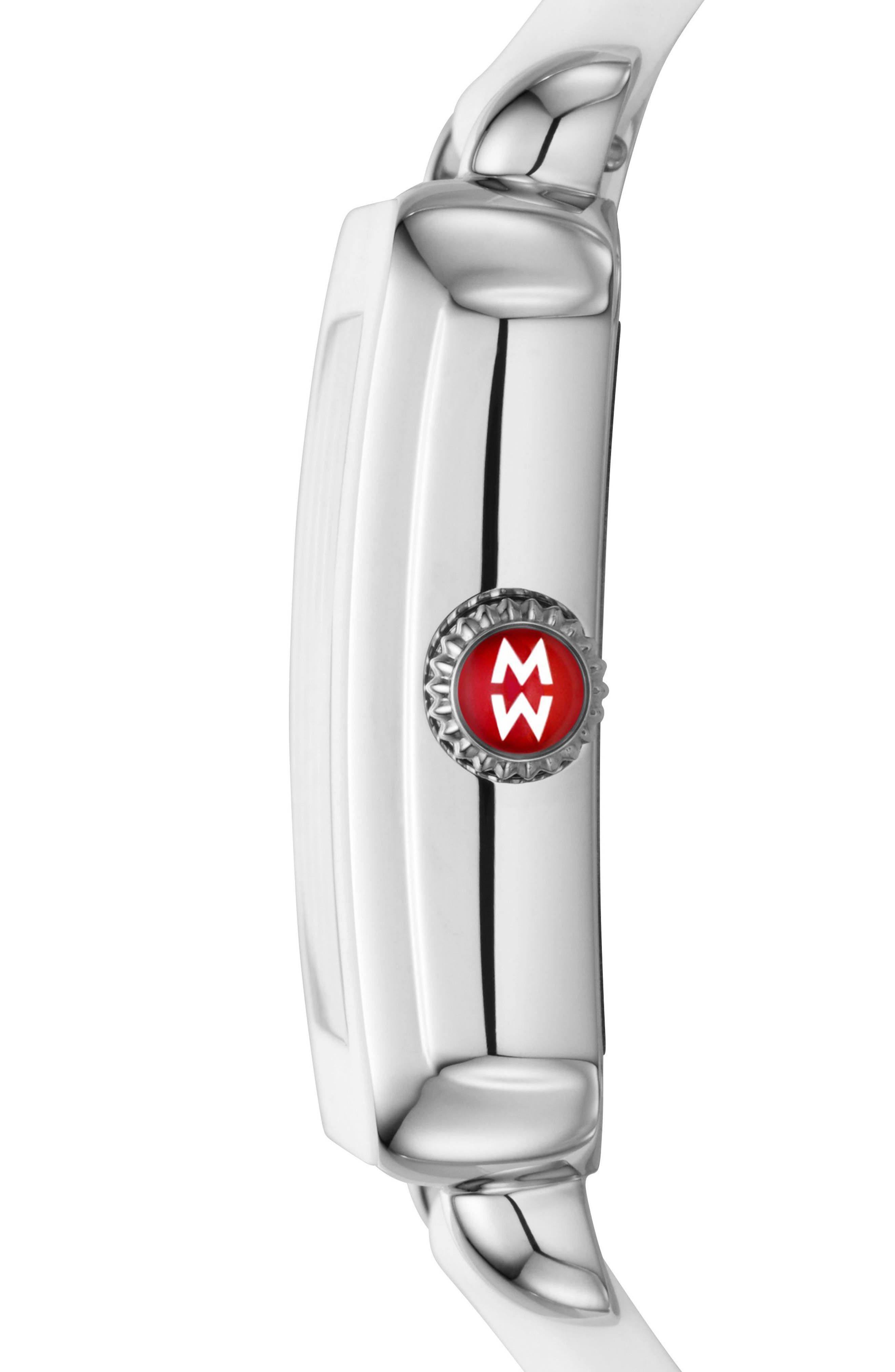 Deco Sport Watch Head & Silicone Strap Watch, 34mm x 36mm,                             Alternate thumbnail 2, color,                             White/ Silver