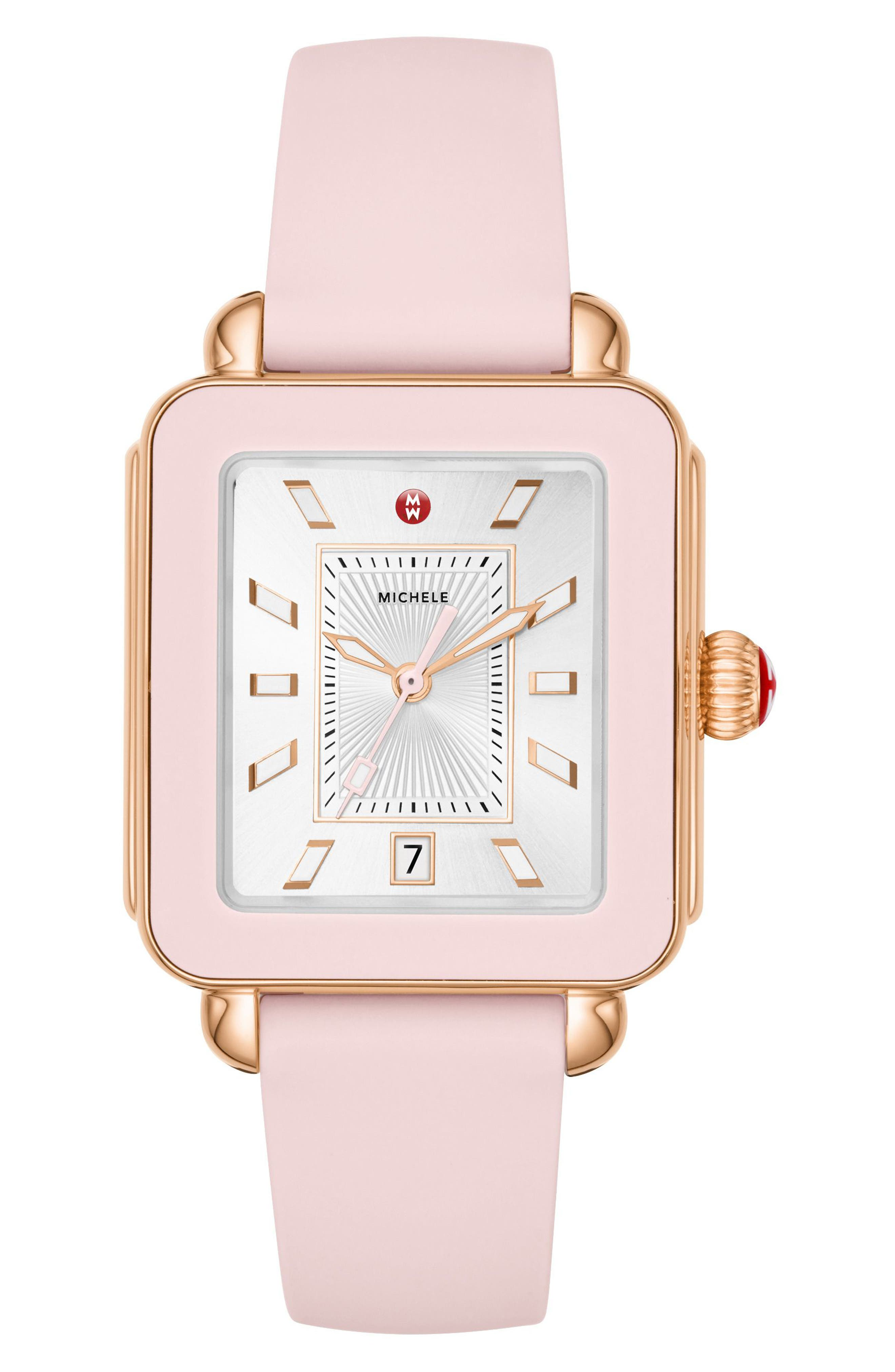 Deco Sport Watch Head & Silicone Strap Watch, 34mm x 36mm,                             Main thumbnail 1, color,                             Pink/ Silver/ Rose Gold