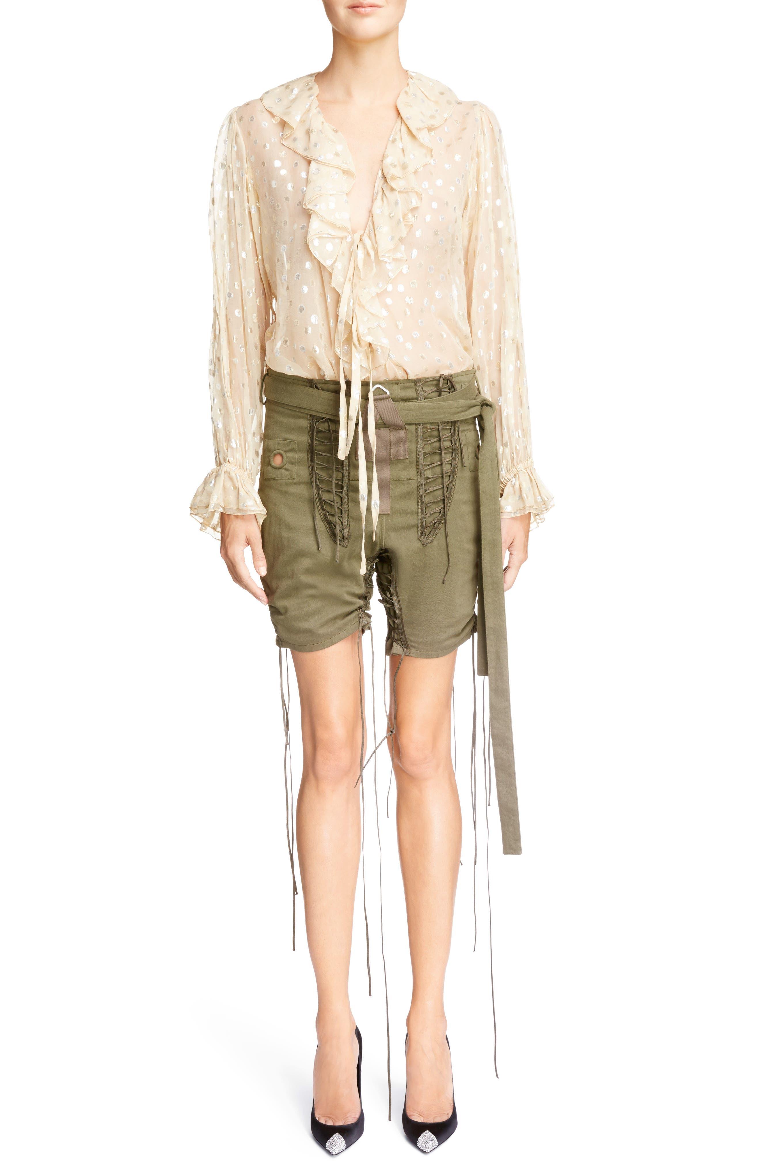 Laced Cotton & Linen Shorts,                             Alternate thumbnail 9, color,                             Kaki