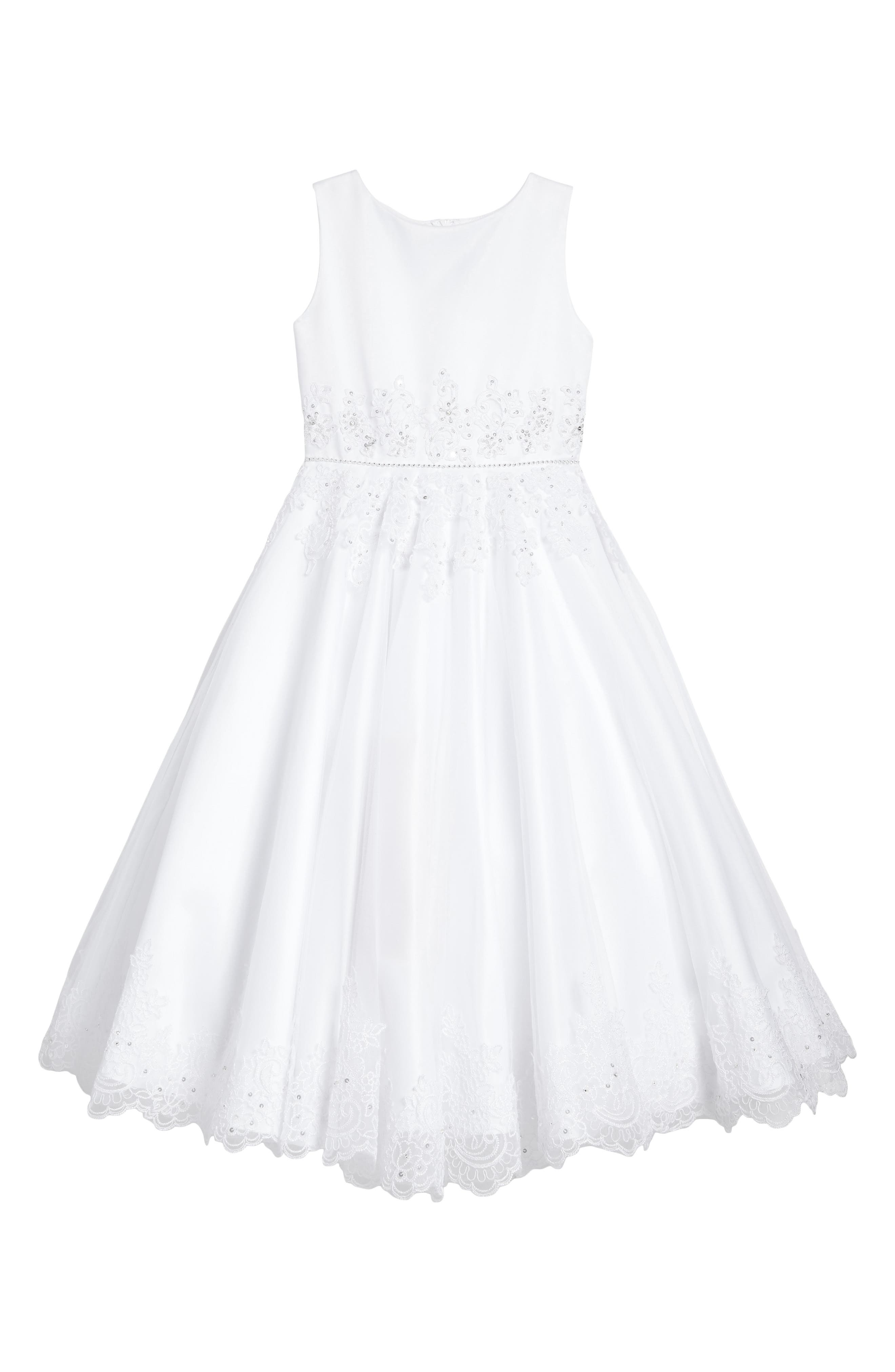 Satin & Tulle First Communion Dress,                             Main thumbnail 1, color,                             White