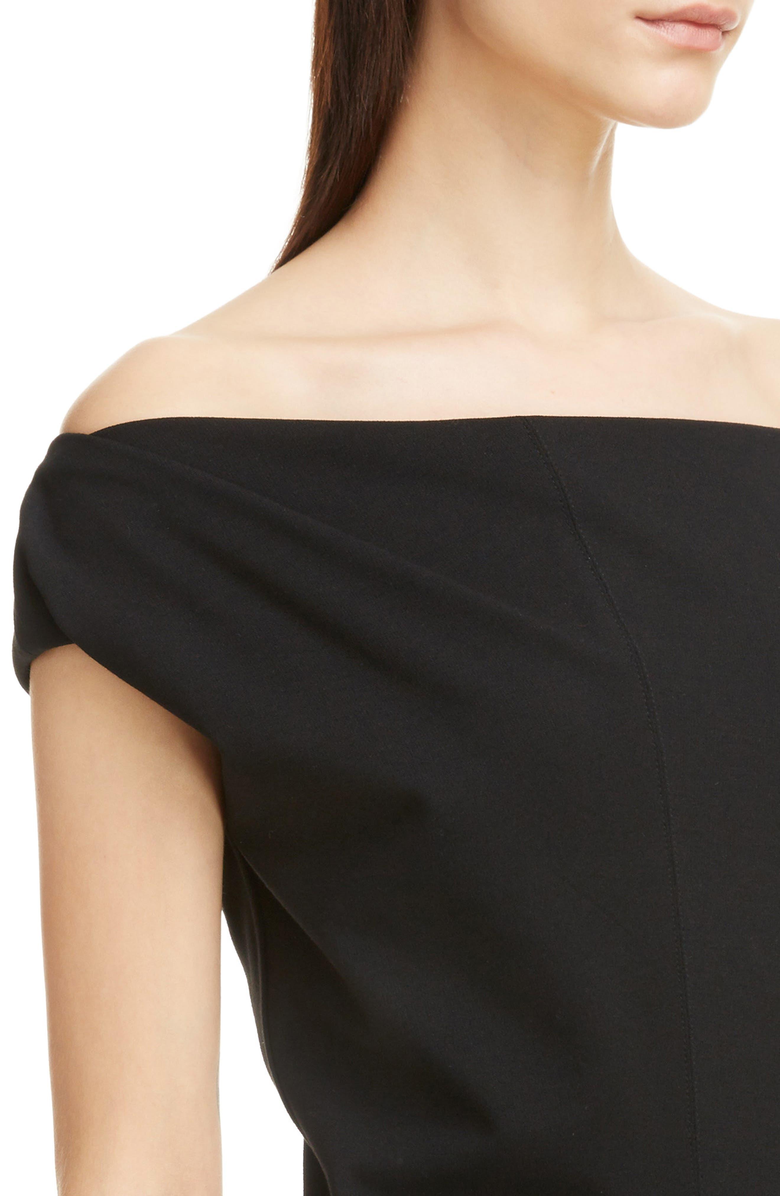 Matte Jersey Off the Shoulder Dress,                             Alternate thumbnail 4, color,                             Black