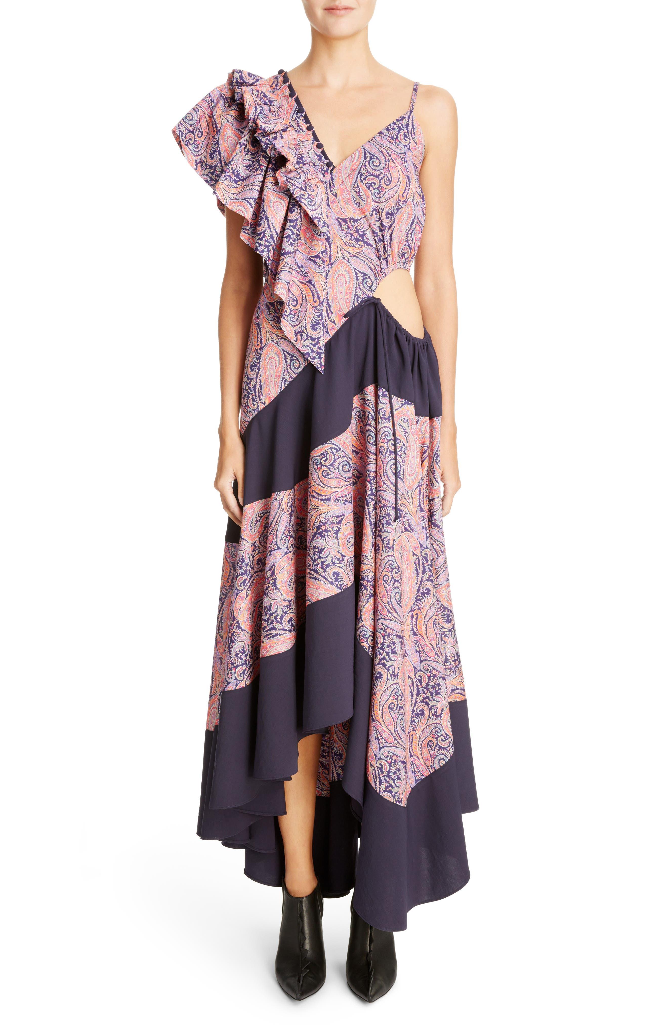 Asymmetrical Ruffle Shoulder Dress,                         Main,                         color, Multicolor/ Black
