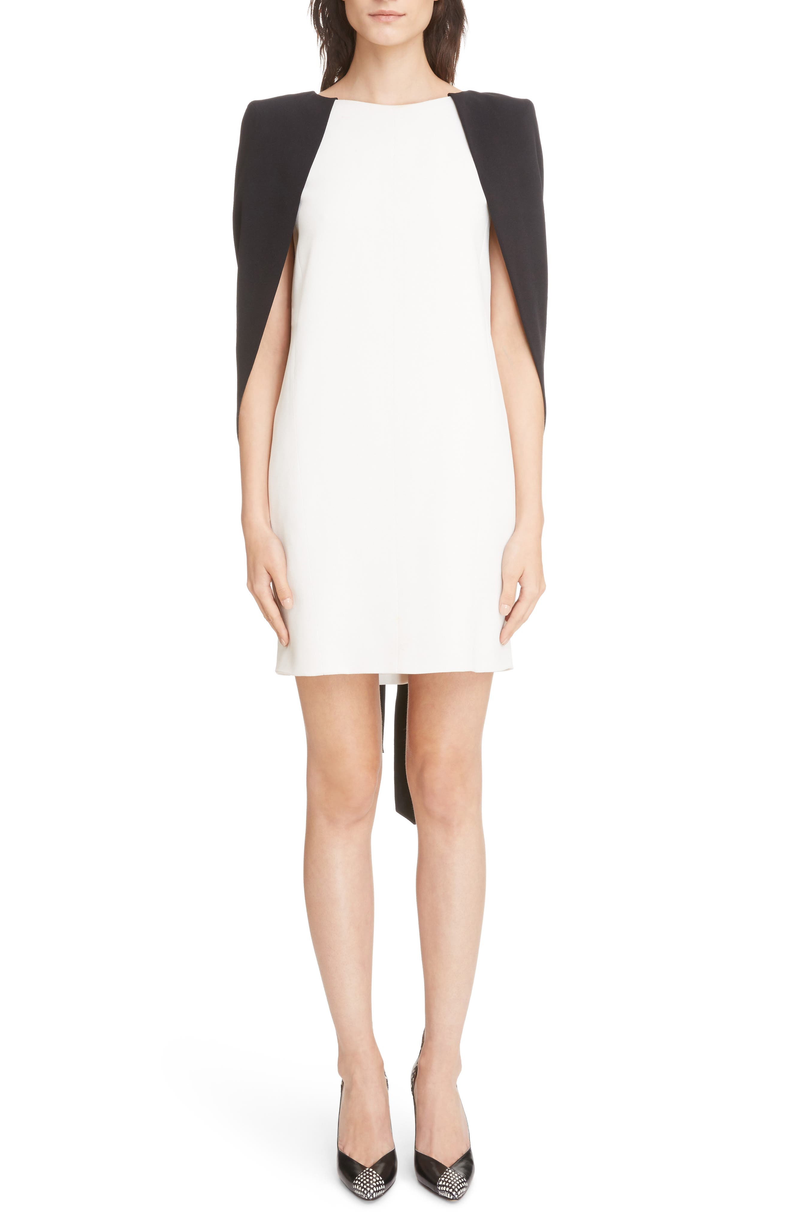 Colorblock Crepe Cape Dress,                         Main,                         color, Ivory