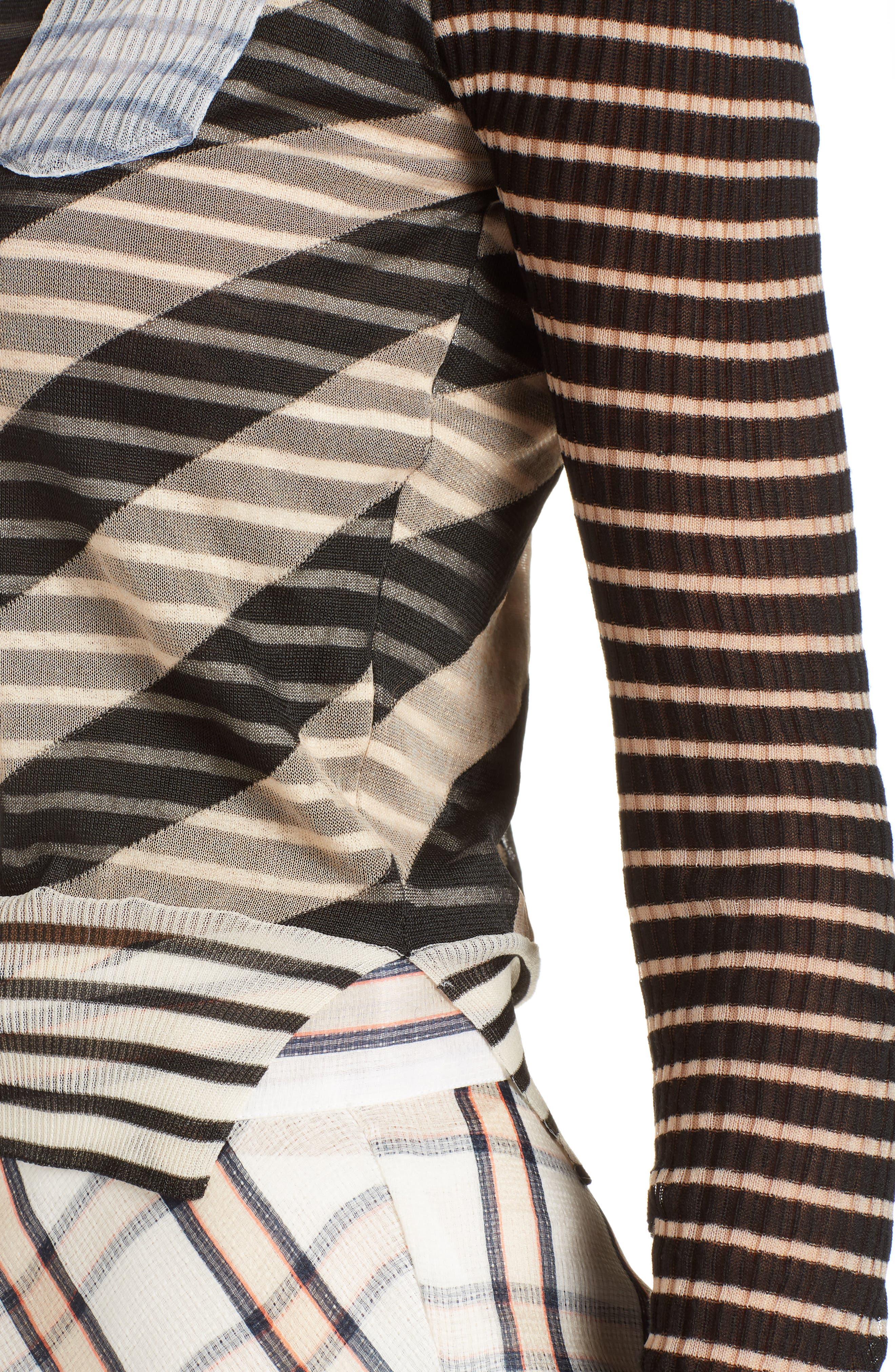 Mixed Stripe Top,                             Alternate thumbnail 5, color,                             Nude/ Black