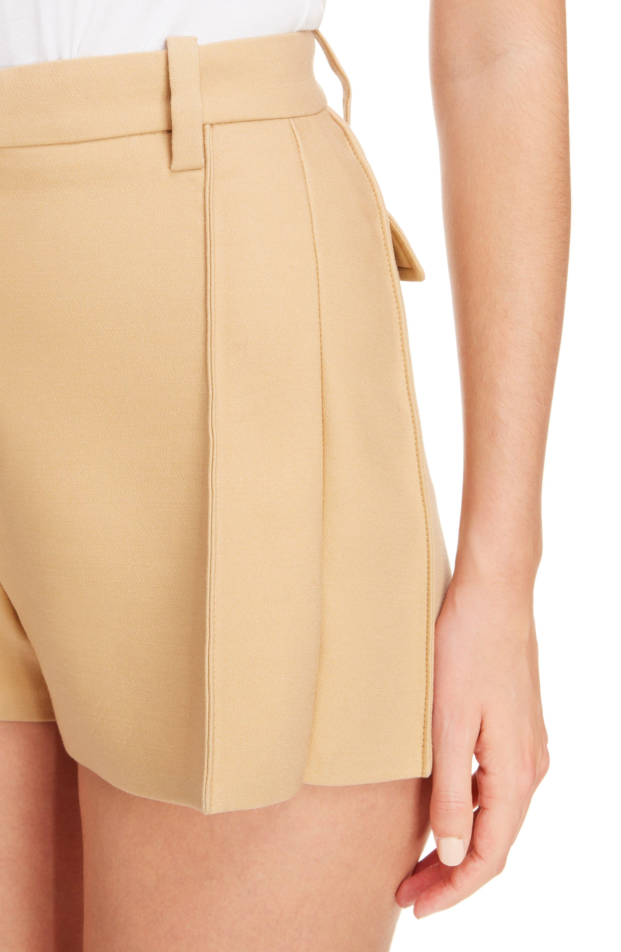 Side Pleat Wool & Silk Blend Shorts,                             Alternate thumbnail 5, color,                             Quiet Brown