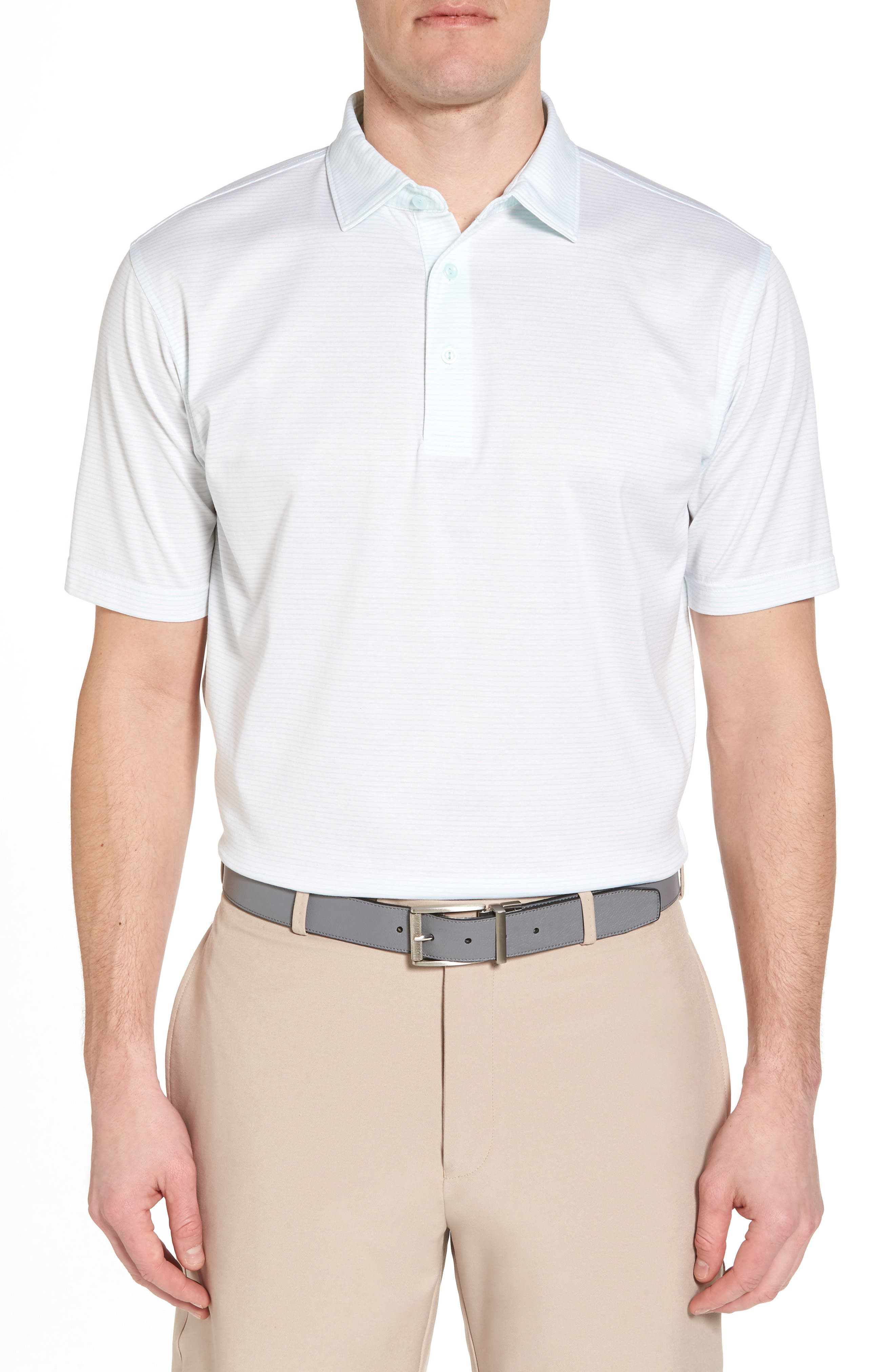 Sean Heritage Stripe Nanoluxe Polo,                         Main,                         color, White/ Heron Blue