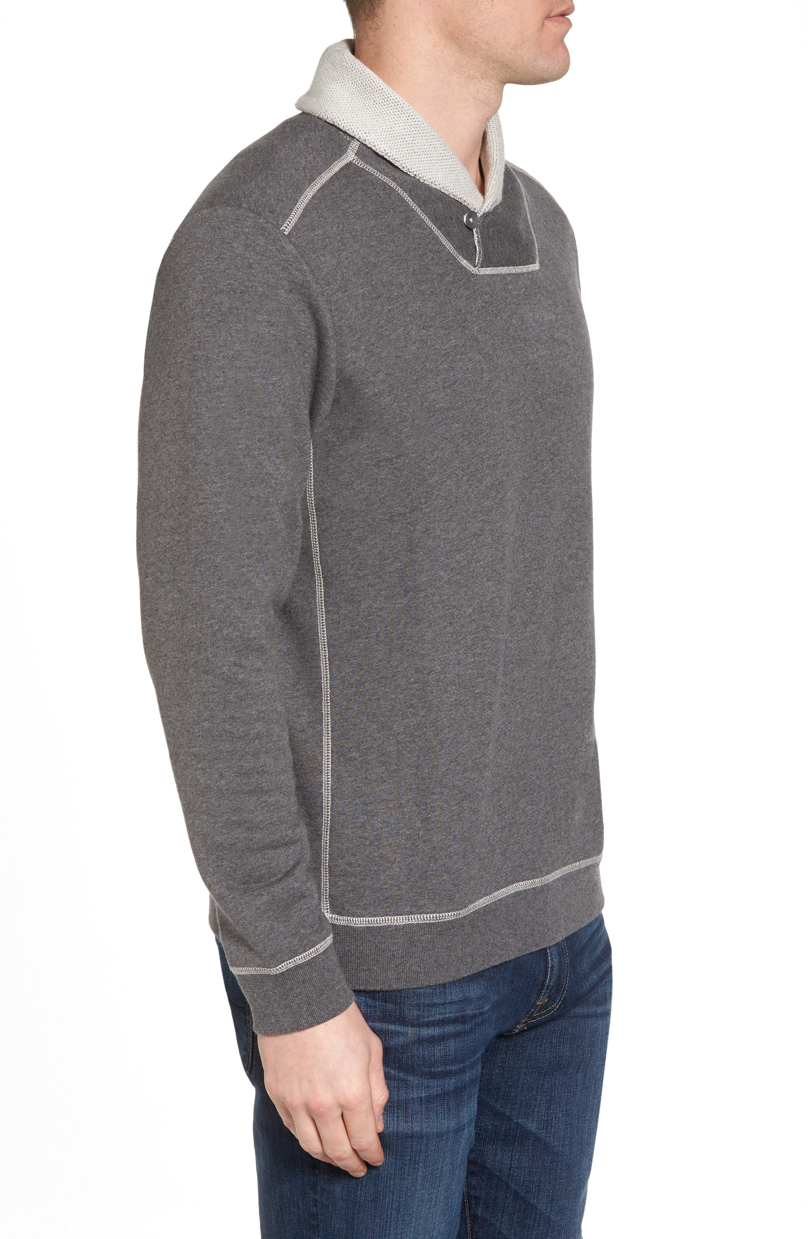 Shorecrest Shawl Collar Pullover,                             Alternate thumbnail 3, color,                             Charcoal Heather