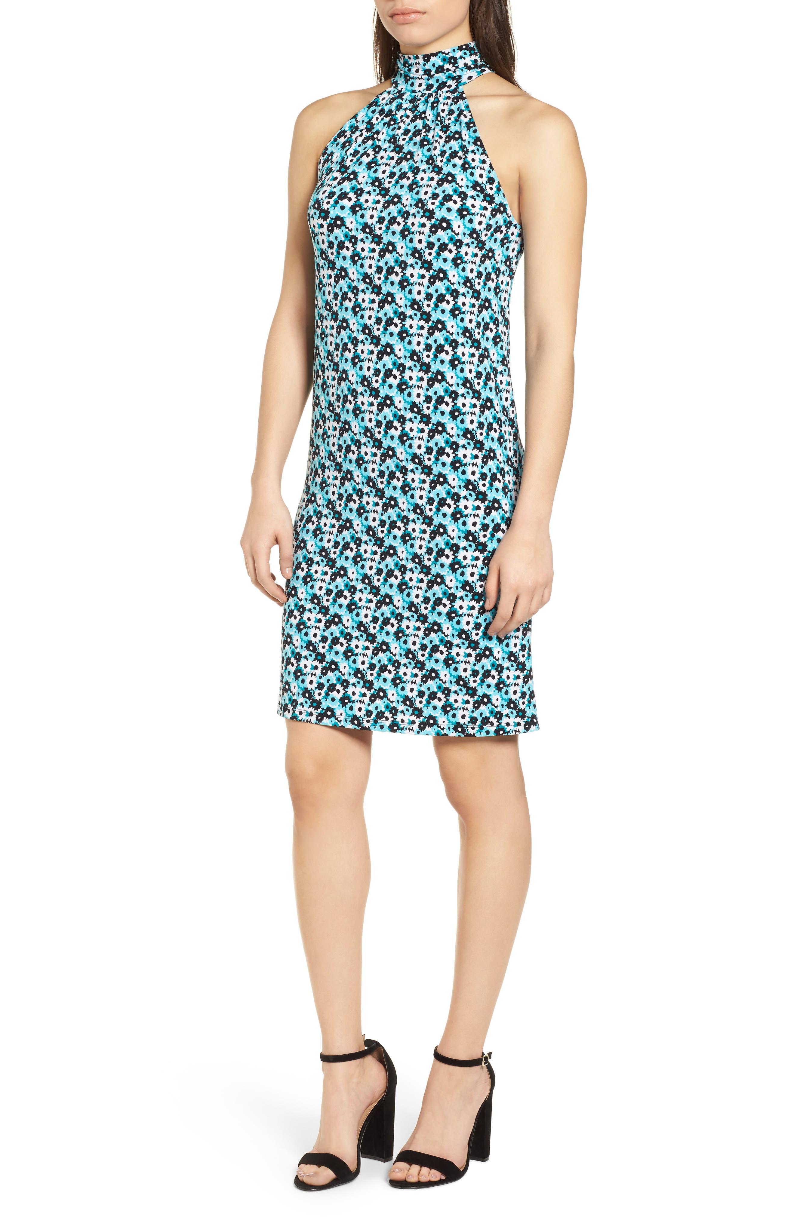 Carnation Sleeveless Dress,                             Main thumbnail 1, color,                             Tile Blue/ Black Multi