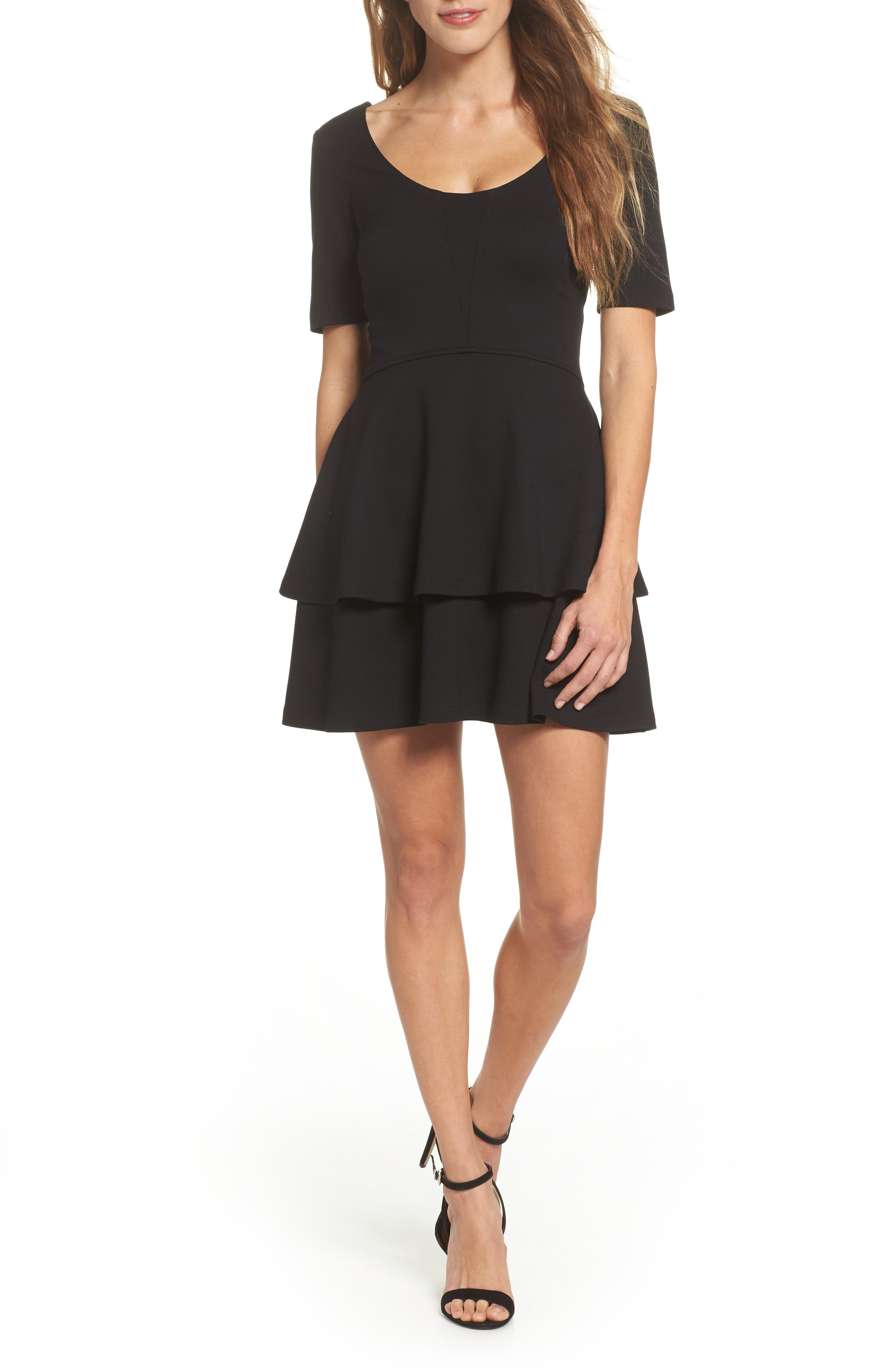 Isn't It Sweet Fit & Flare Dress,                             Main thumbnail 1, color,                             Black