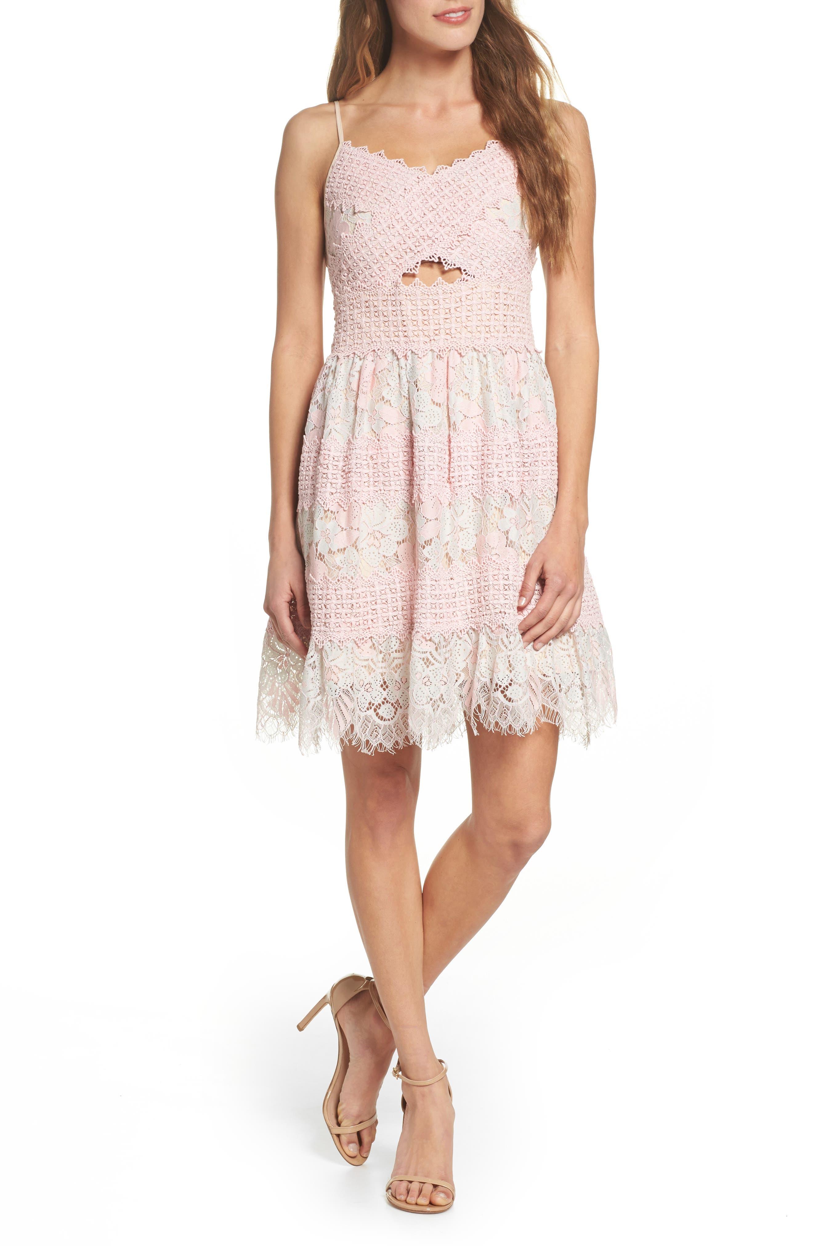 Tabitha Lace Minidress,                         Main,                         color, Aquarose