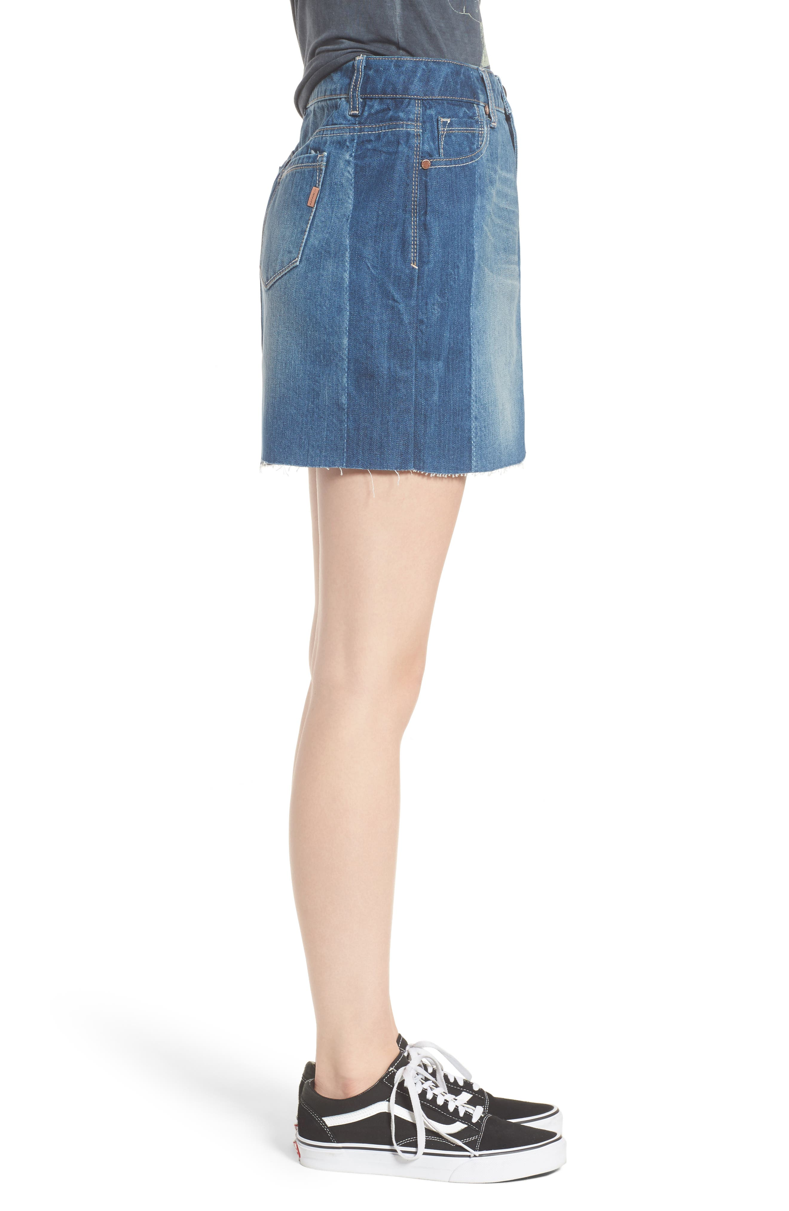 Two Tone Denim Skirt,                             Alternate thumbnail 3, color,                             Lexington