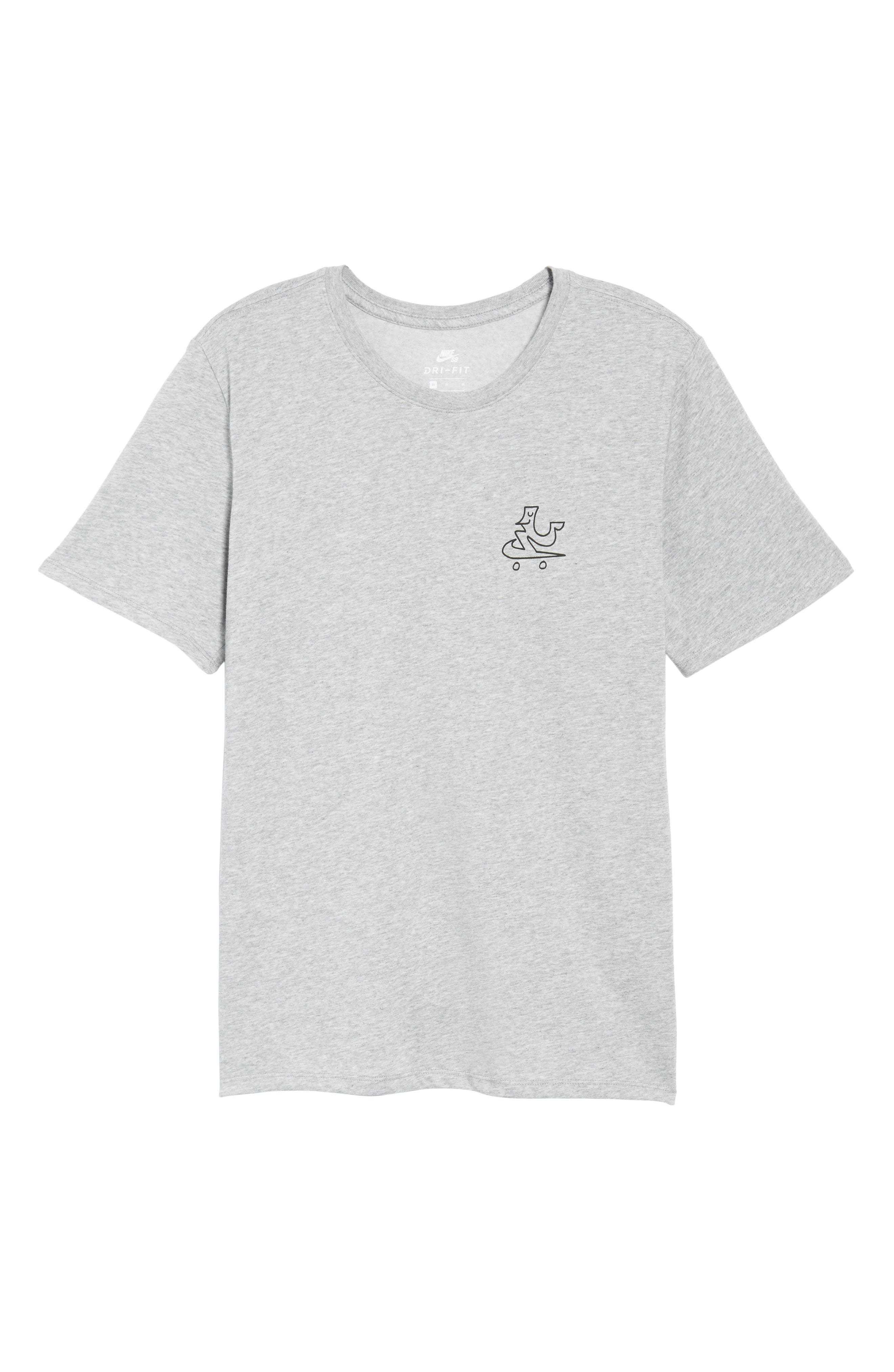 Dry Swooshie Crewneck T-Shirt,                             Alternate thumbnail 6, color,                             Dark Grey Heather/ Black