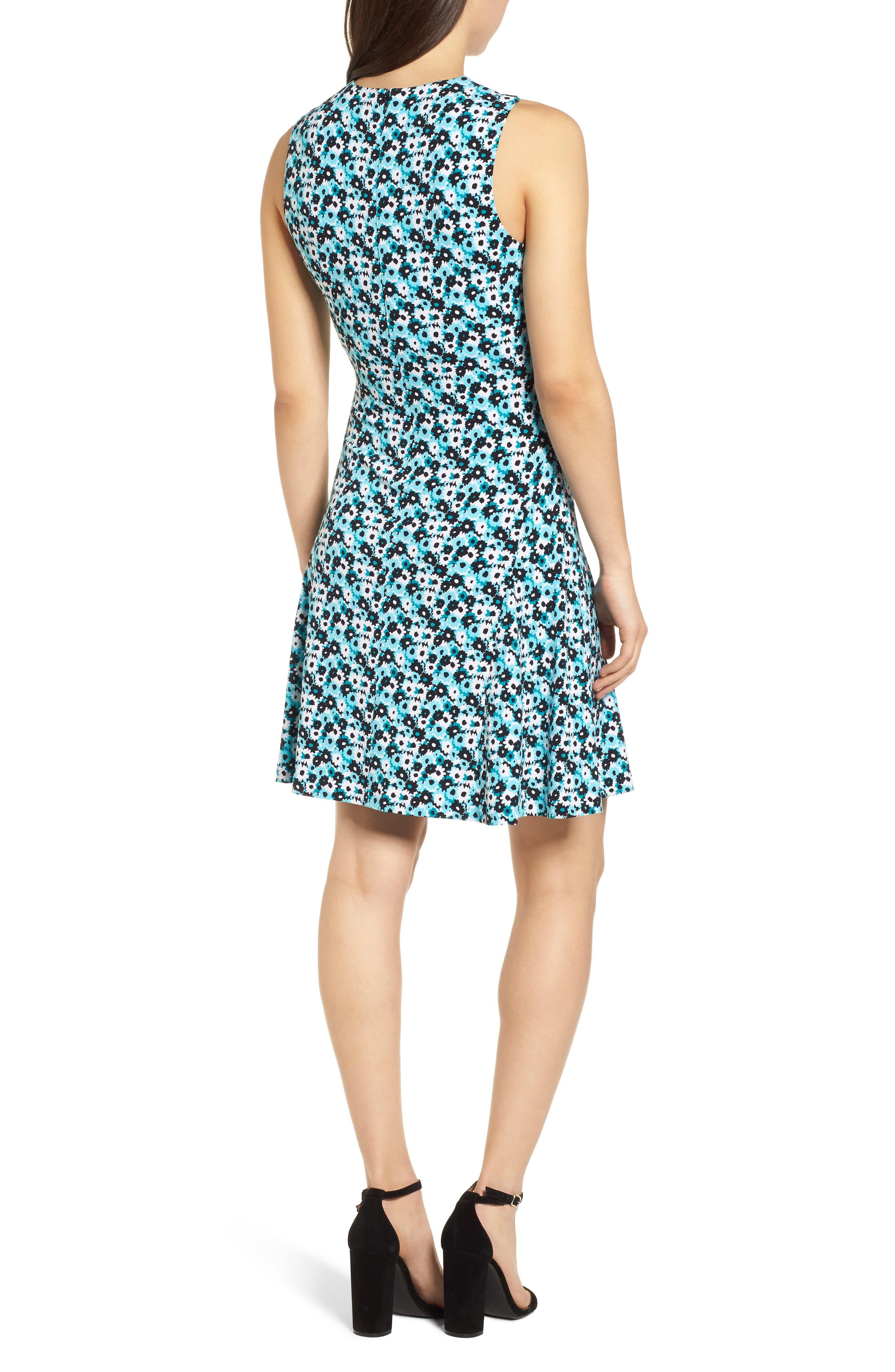 Carnations Cross Neck Fit and Flare Dress,                             Alternate thumbnail 2, color,                             Tile Blue/ Black Multi