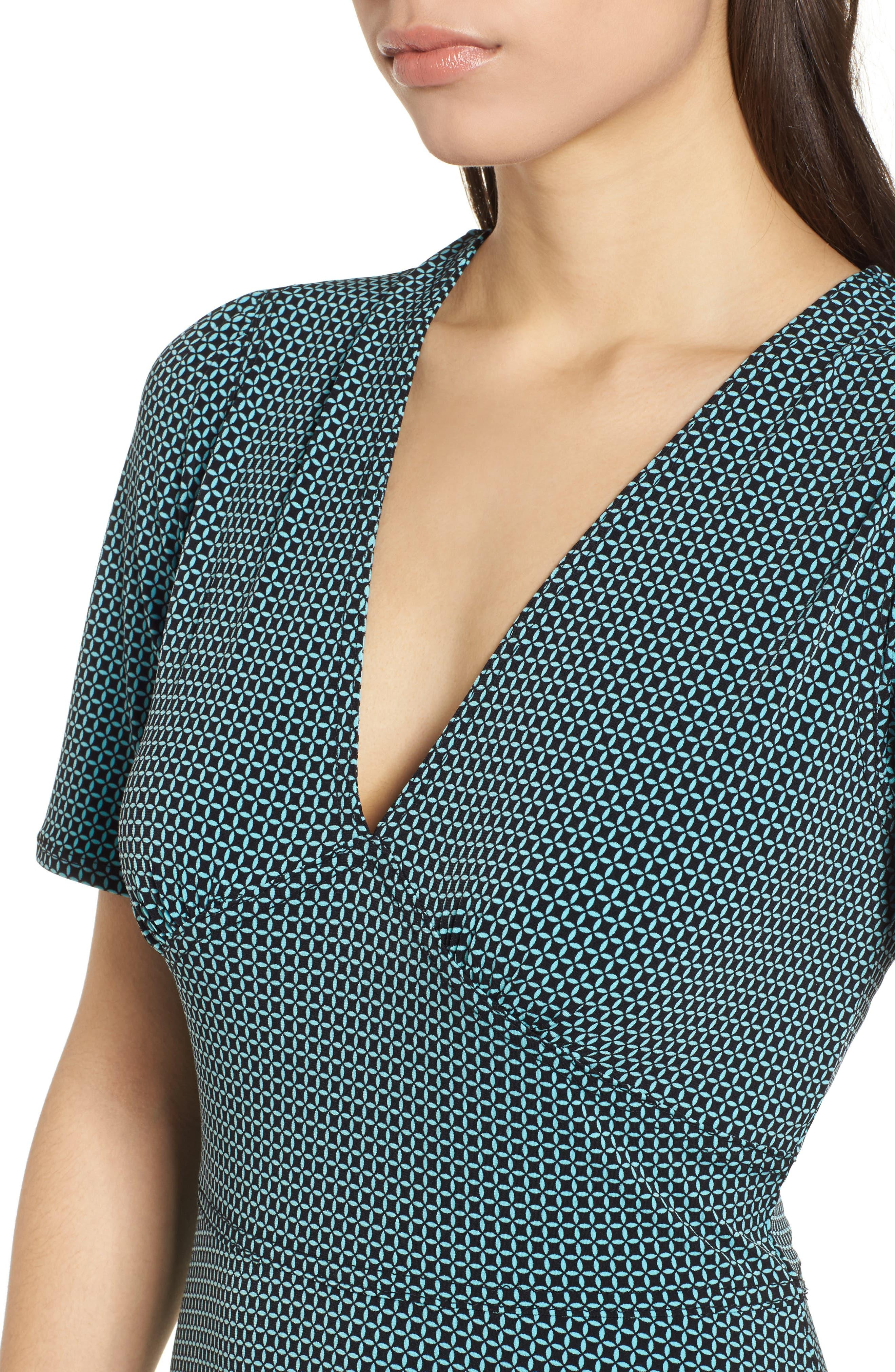 Mod Geo Fit & Flare Dress,                             Alternate thumbnail 4, color,                             Turquoise/ Black