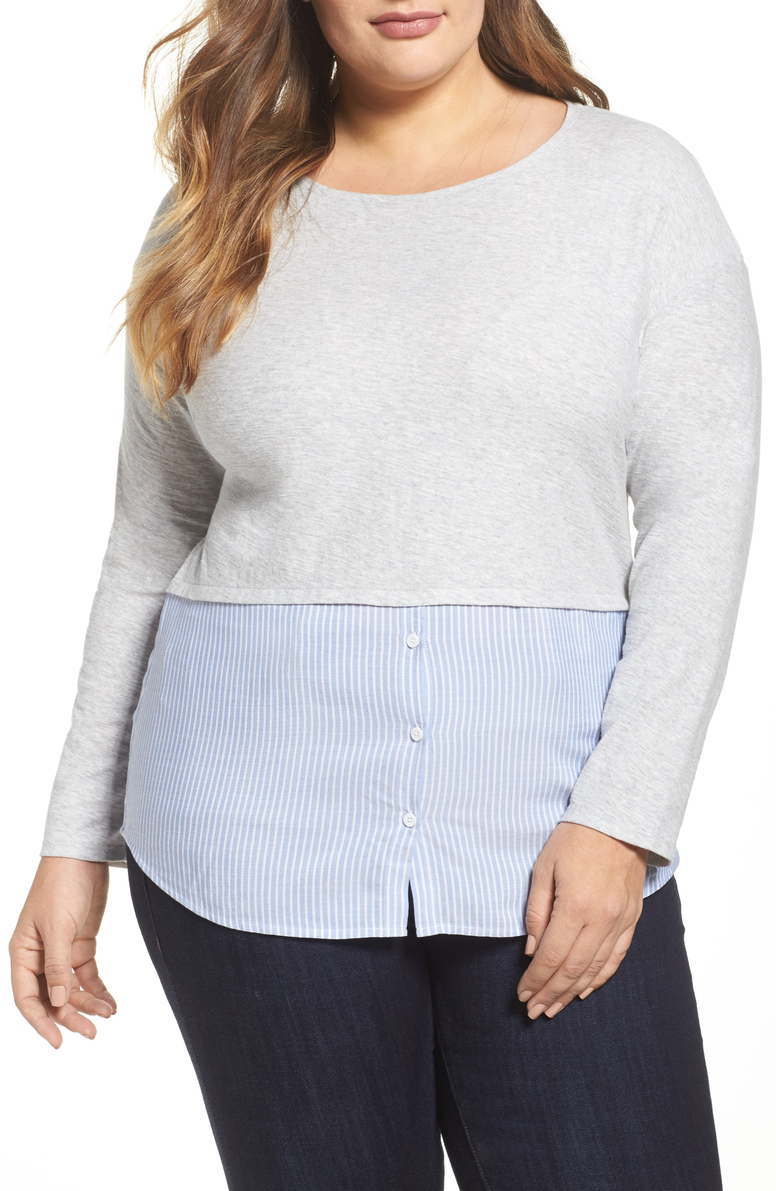 Main Image - Two by Vince Camuto Mixed Media Top (Plus Size)