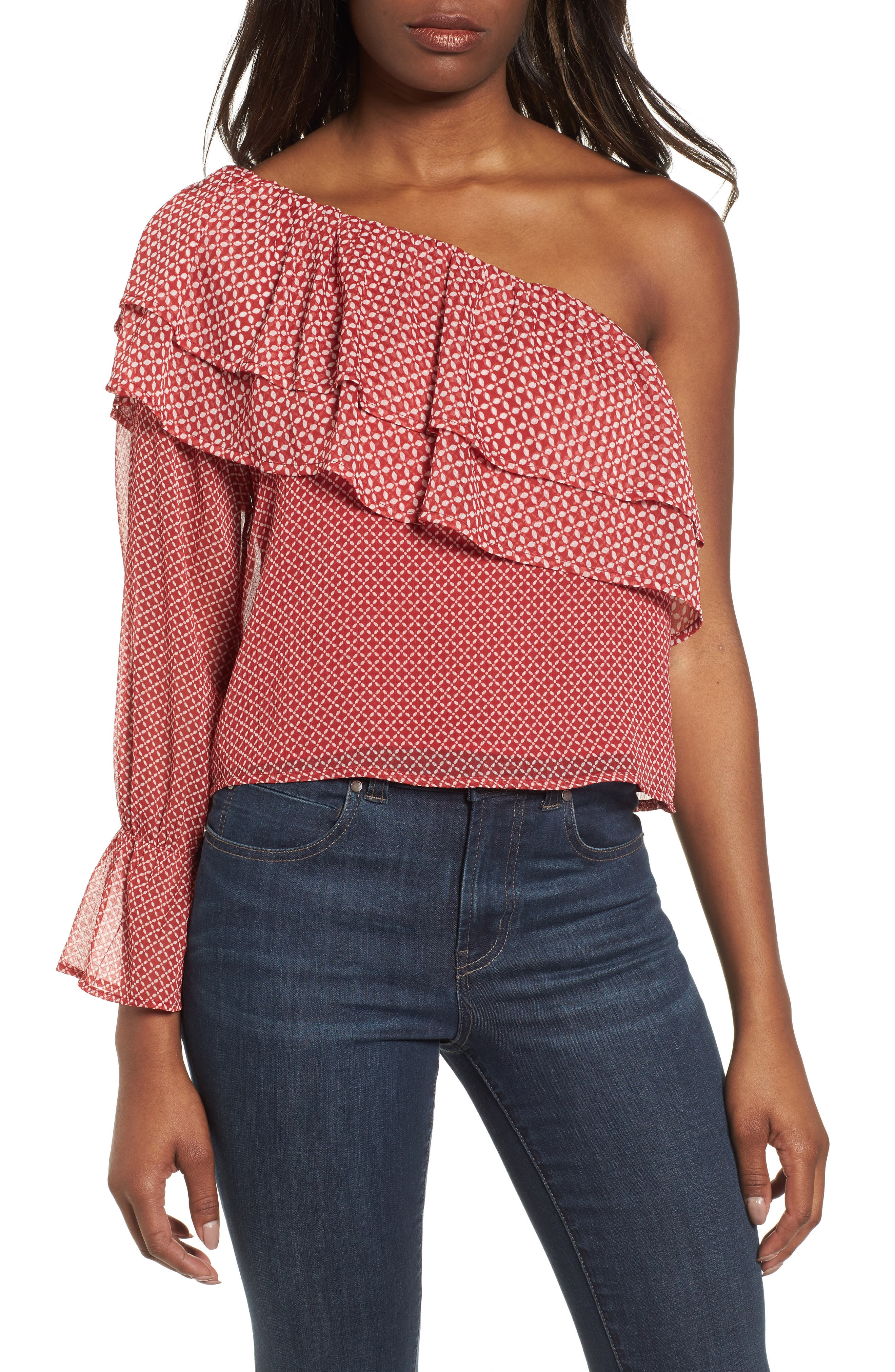 One-Shoulder Printed Top,                             Main thumbnail 1, color,                             Red Multi