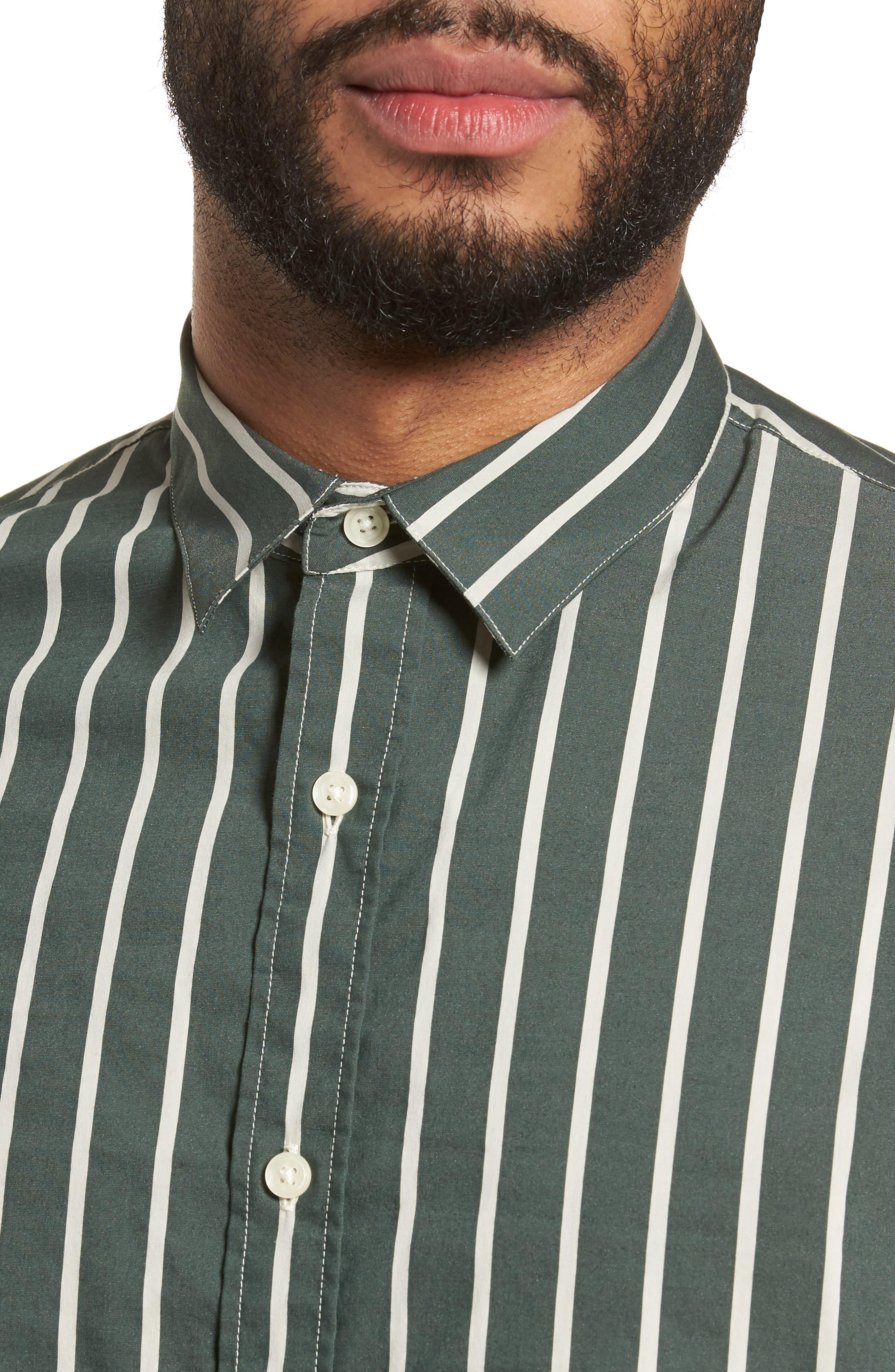 Column Stripe Sport Shirt,                             Alternate thumbnail 4, color,                             Deep Forest