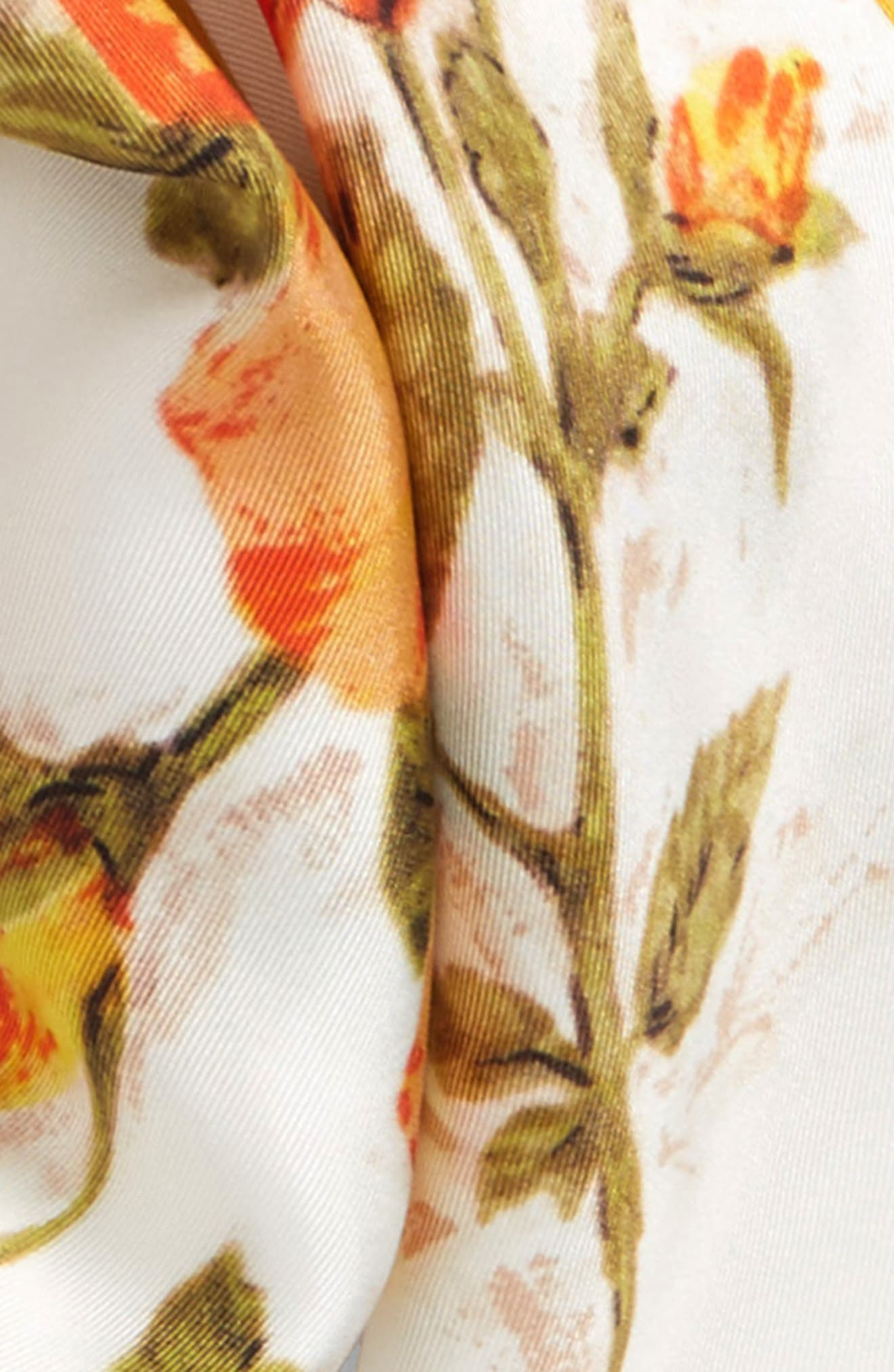 Vintage Roses Losange Silk Twill Scarf,                             Alternate thumbnail 3, color,                             Ivory/ Yellow